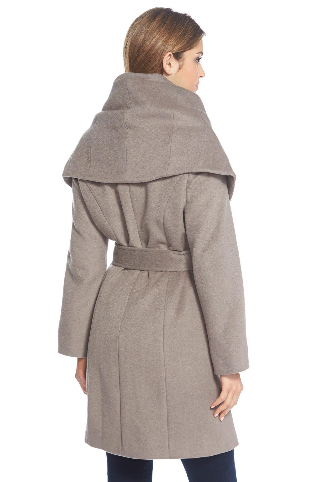 T Tahari Wool Blend Belted Wrap Coat,                             Alternate thumbnail 25, color,