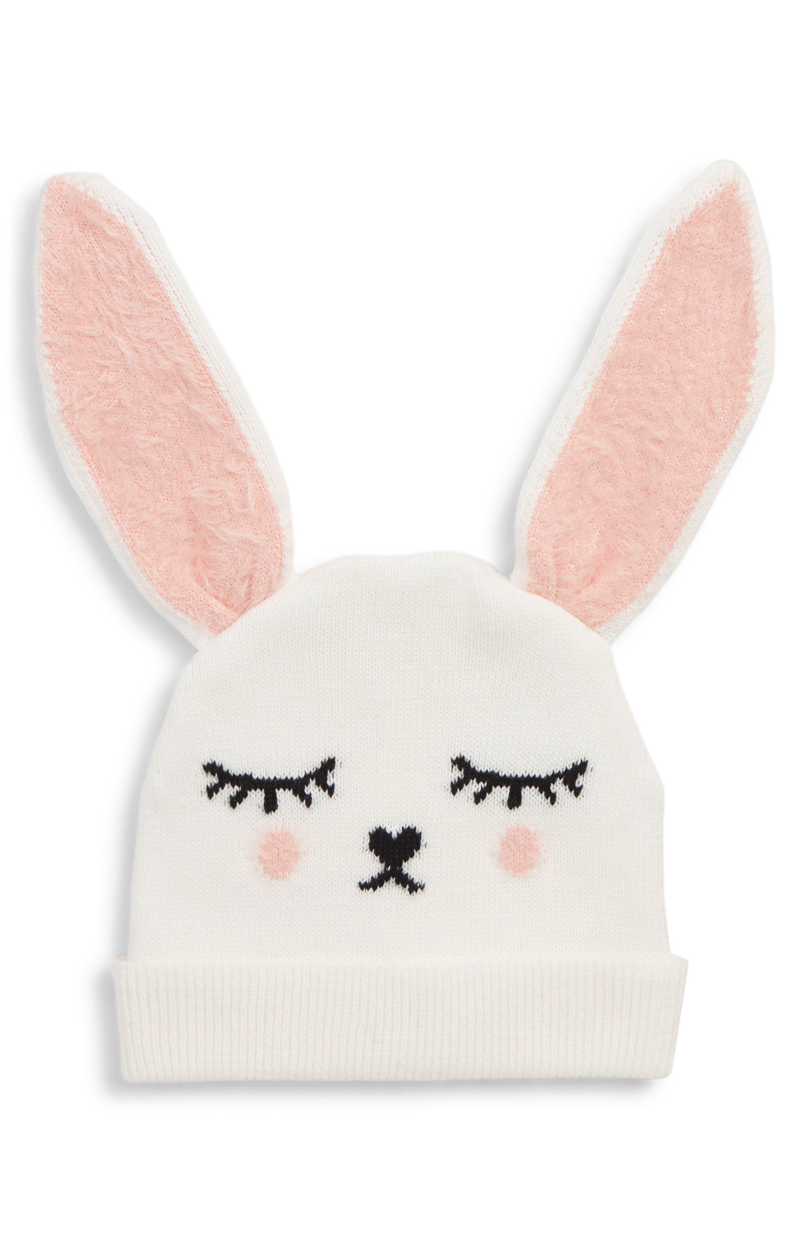 Animal Face Hat,                         Main,                         color, IVORY EGRET- PINK