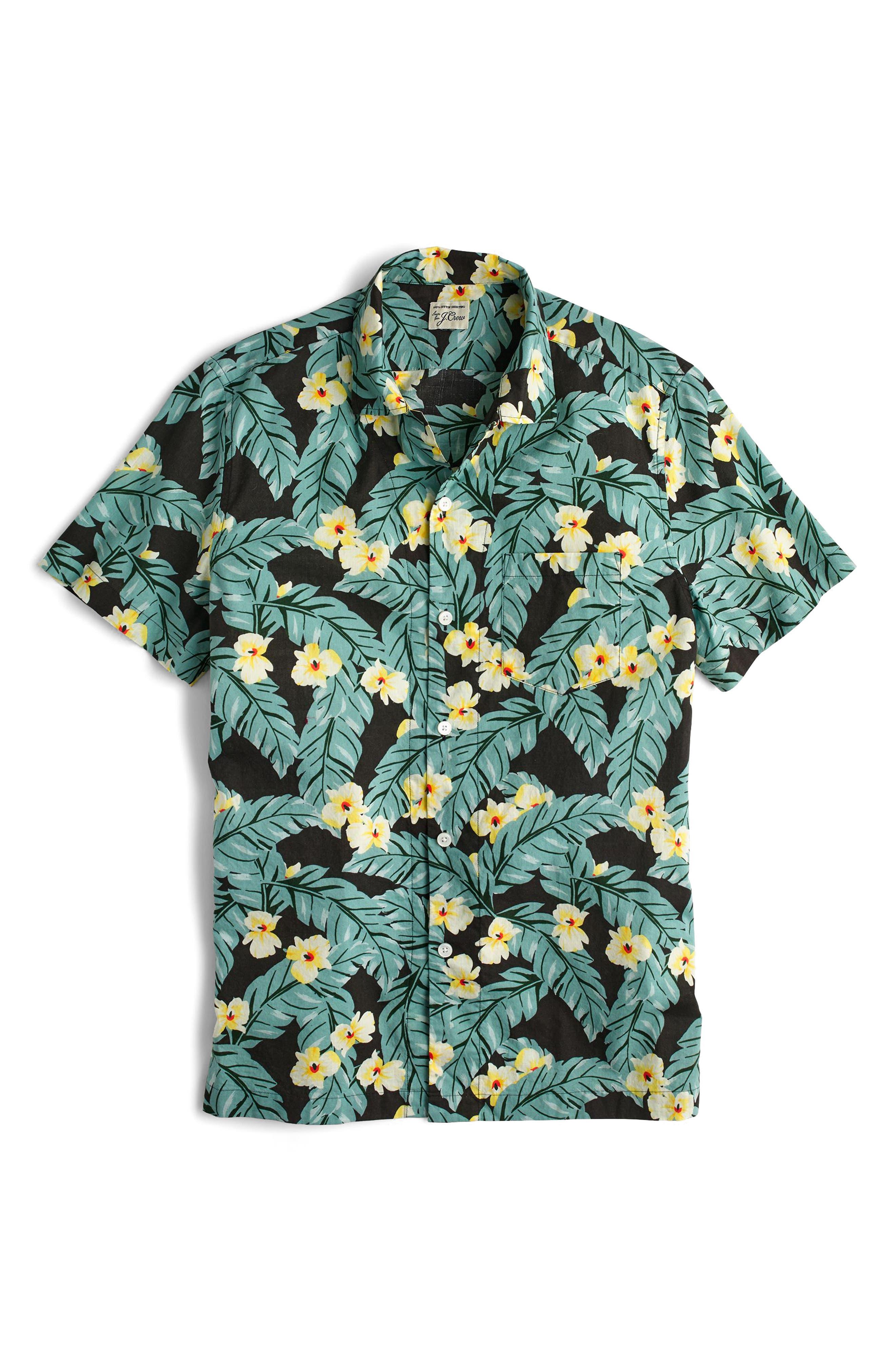 Short Sleeve Jungle Print Slub Cotton Shirt,                             Alternate thumbnail 3, color,                             300