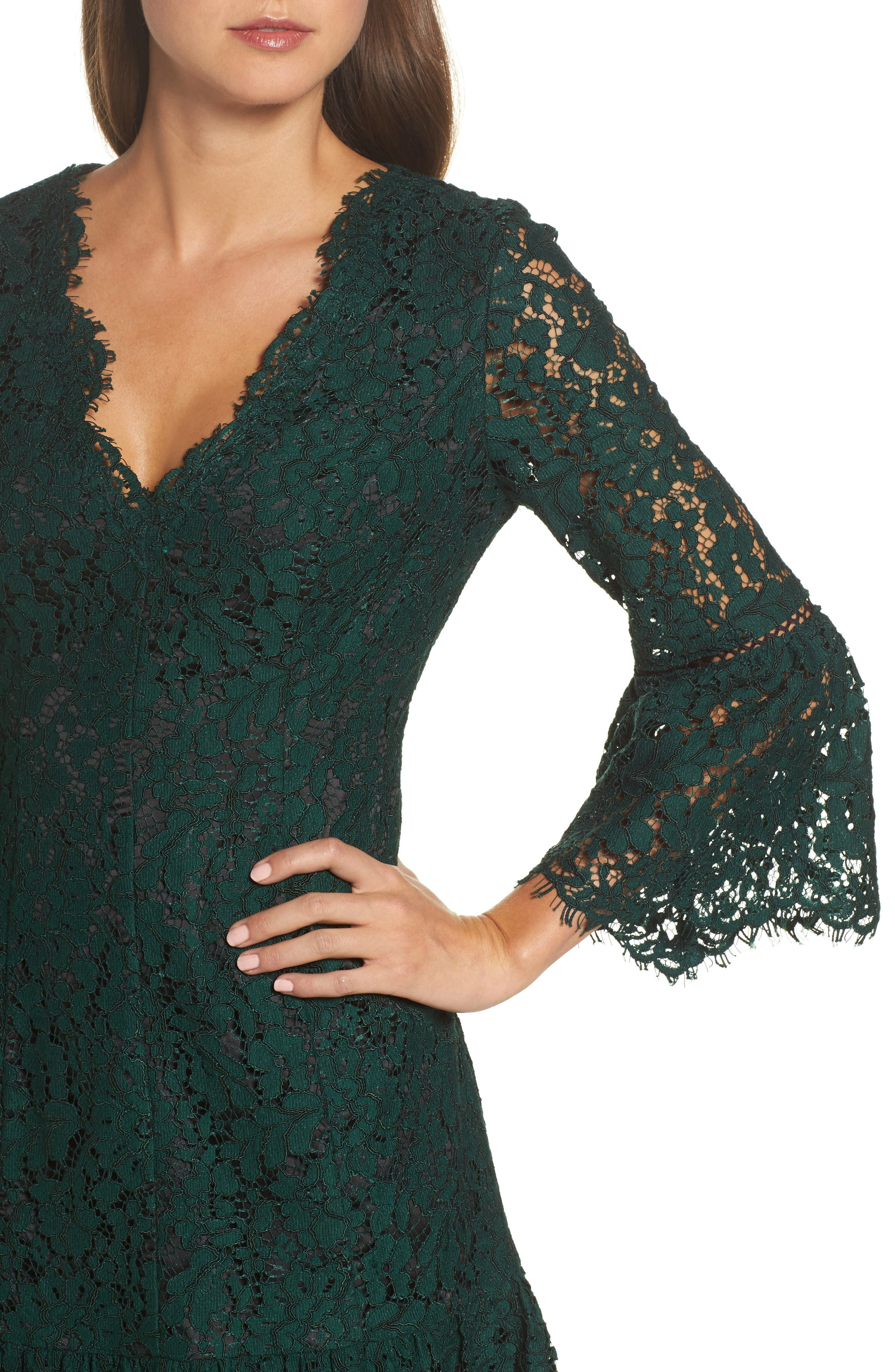 ELIZA J,                             Bell Sleeve Lace Cocktail Dress,                             Alternate thumbnail 4, color,                             GREEN/ BLACK
