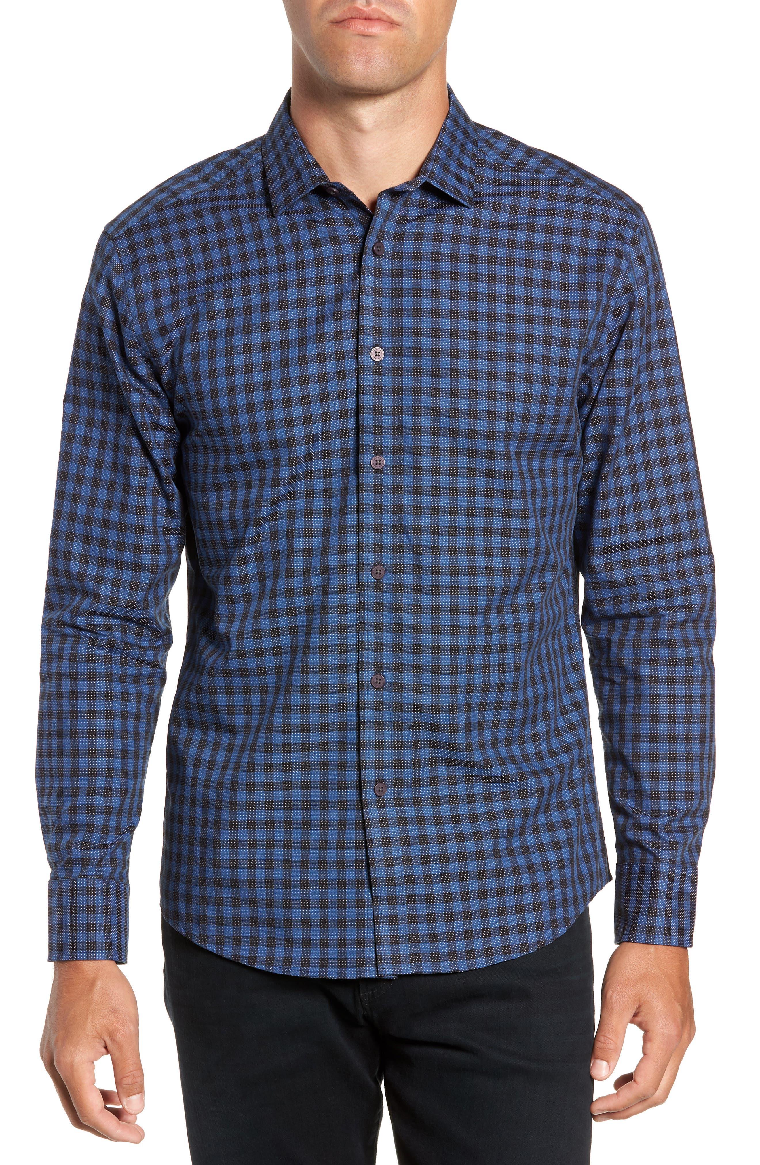 Long Sleeve Check & Dobby Sport Shirt,                         Main,                         color, BLUE BLACK CHECK WHITE DOBBY