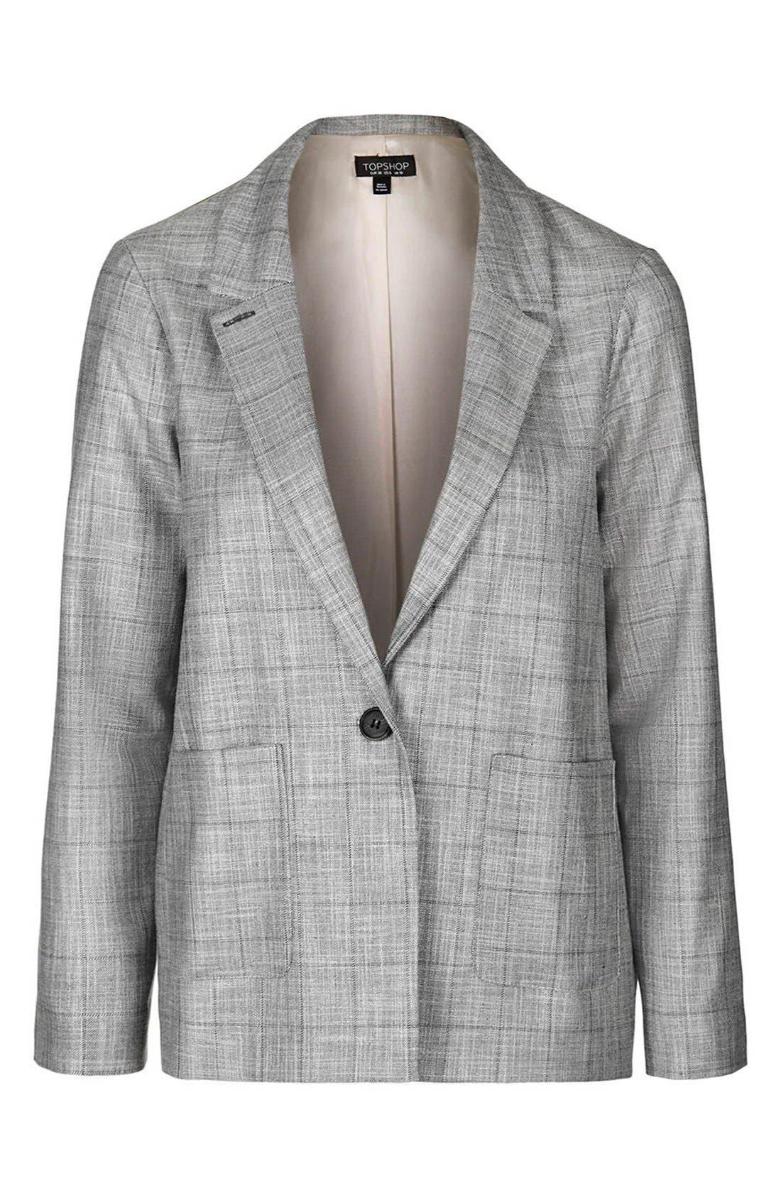 TOPSHOP,                             'Check Tonic' One-Button Suit Blazer,                             Alternate thumbnail 3, color,                             020
