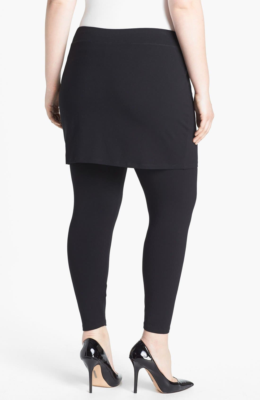 EILEEN FISHER,                             Skirted Leggings,                             Alternate thumbnail 2, color,                             001