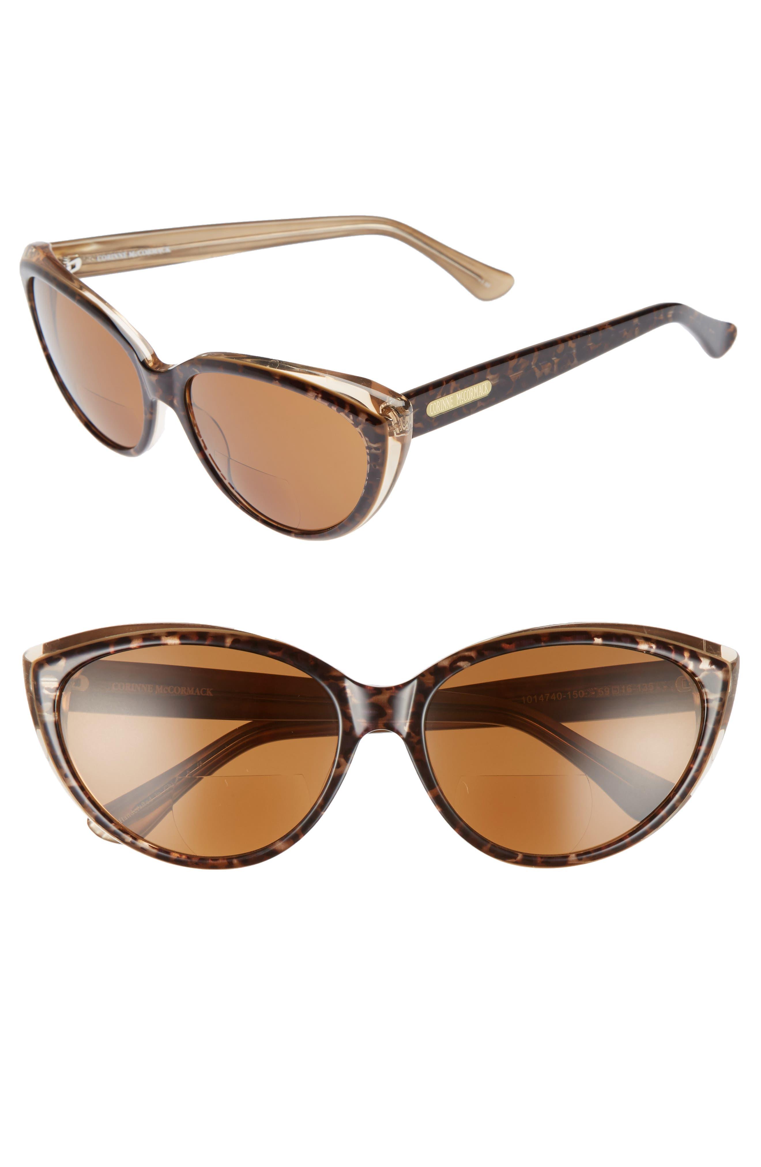 Corrine McCormack Anita 59mm Reading Sunglasses,                         Main,                         color, DARK LEOPARD