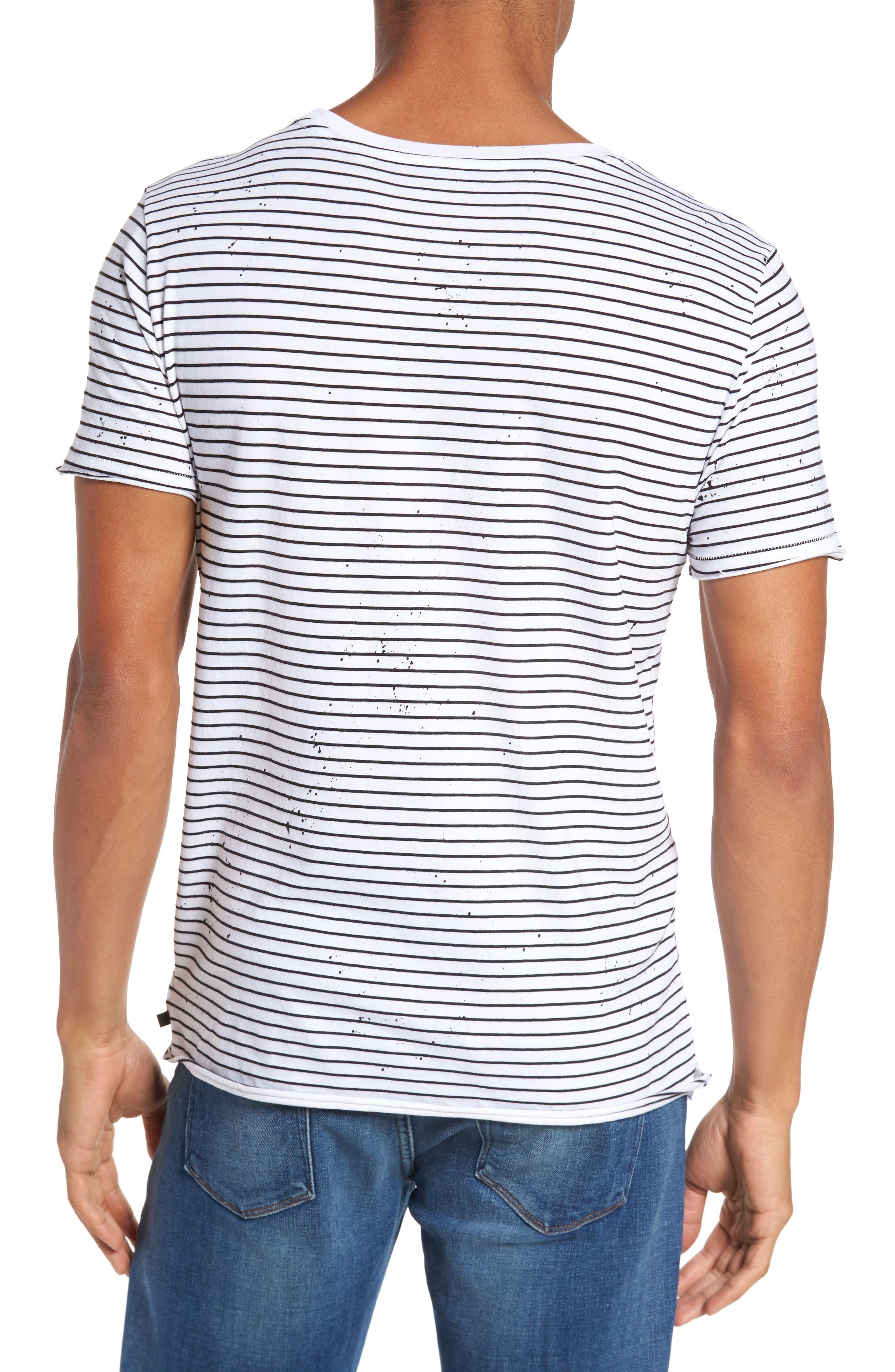 Julian Slim Fit Stripe Raw T-Shirt,                             Alternate thumbnail 2, color,                             100