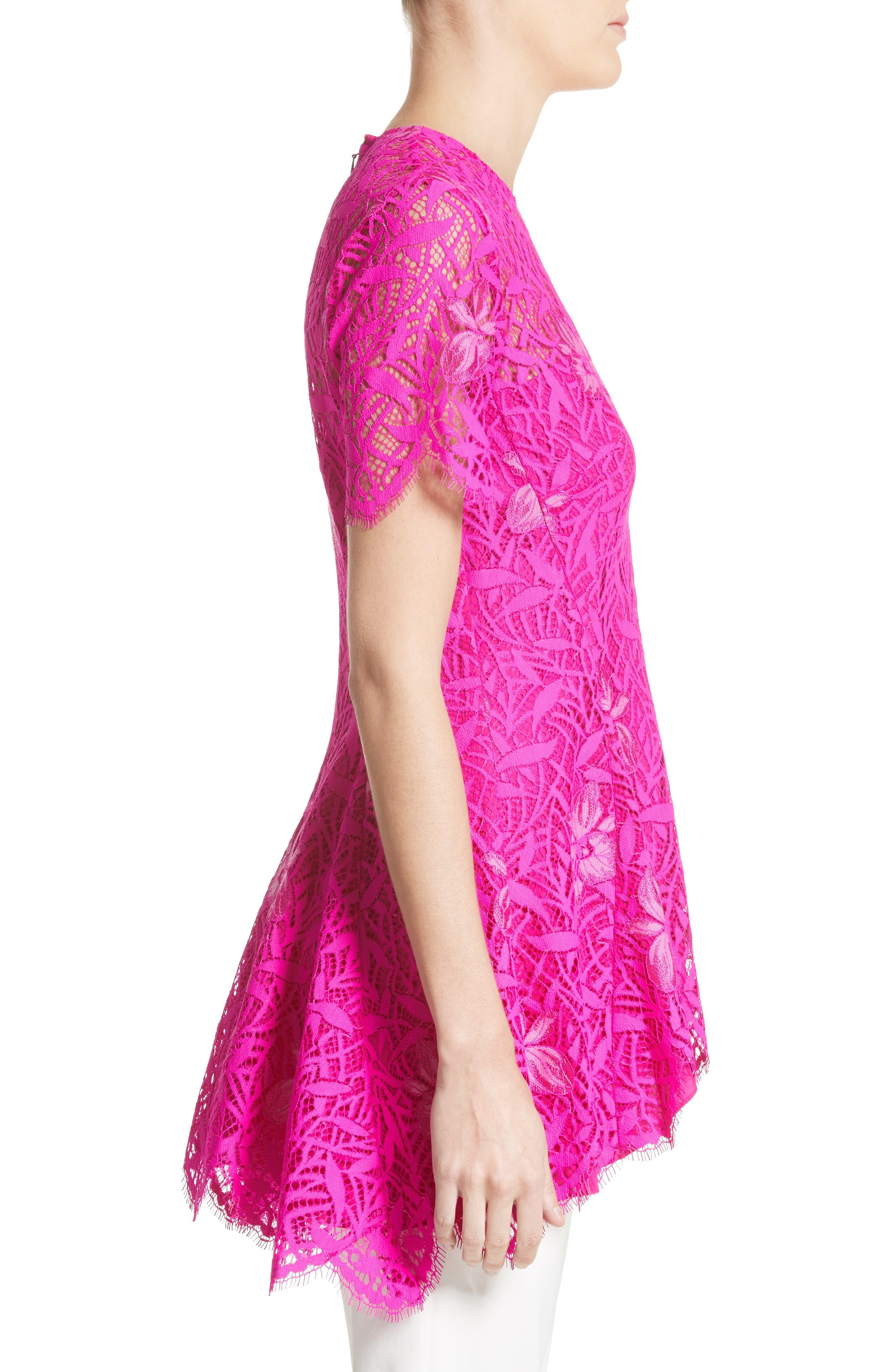 Floral Lace Peplum Top,                             Alternate thumbnail 3, color,