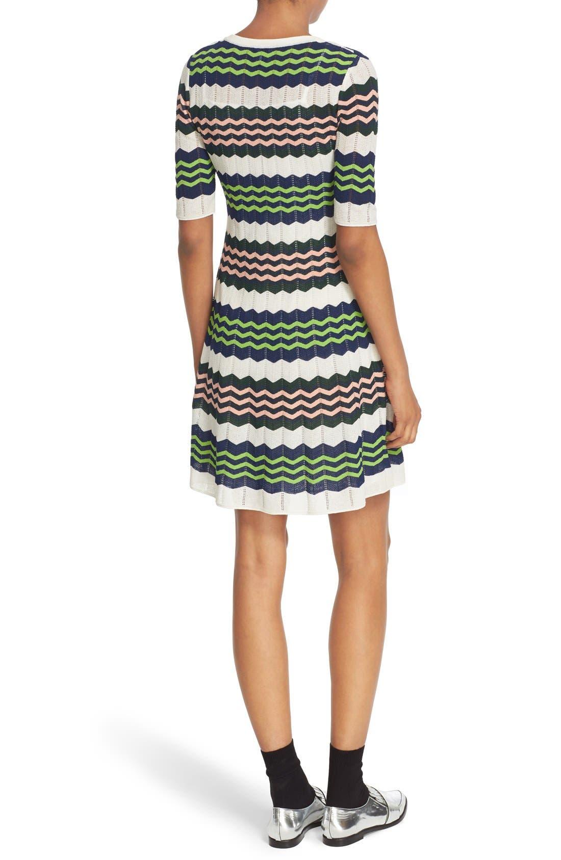 Zigzag Stripe Knit A-Line Dress,                             Alternate thumbnail 3, color,                             900