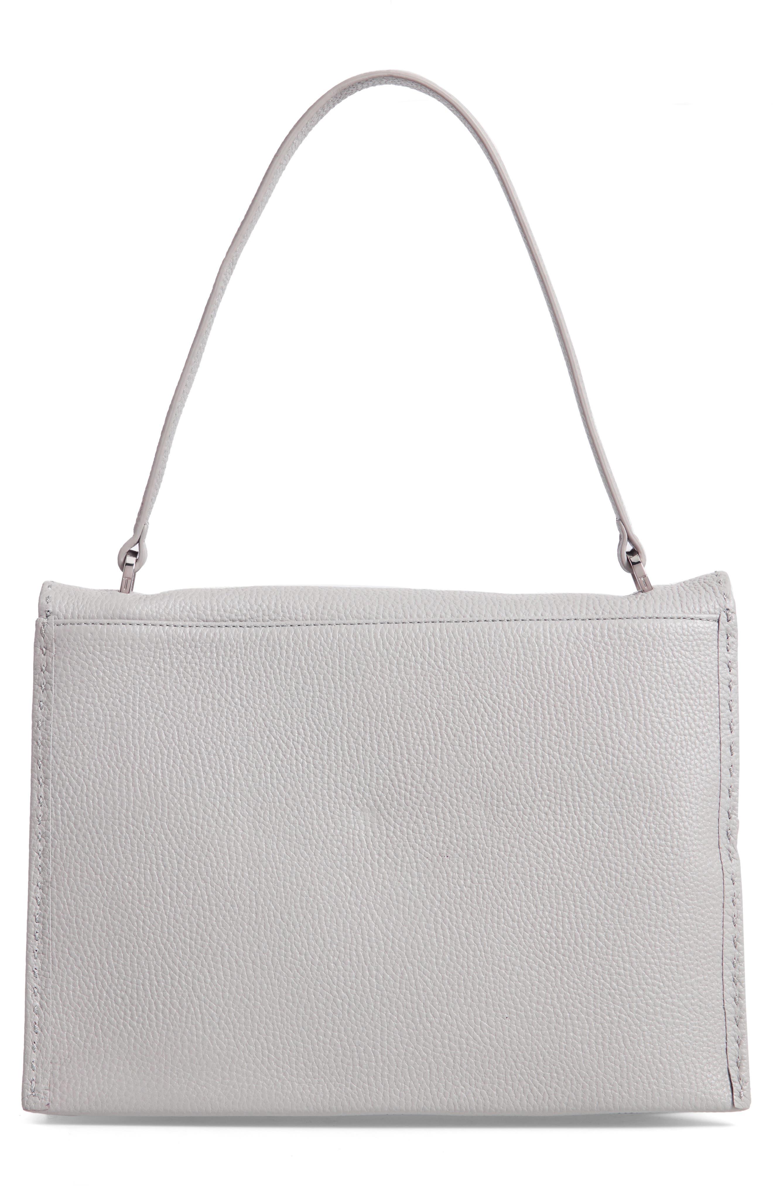 Jessi Leather Shoulder Bag,                             Alternate thumbnail 3, color,                             GREY