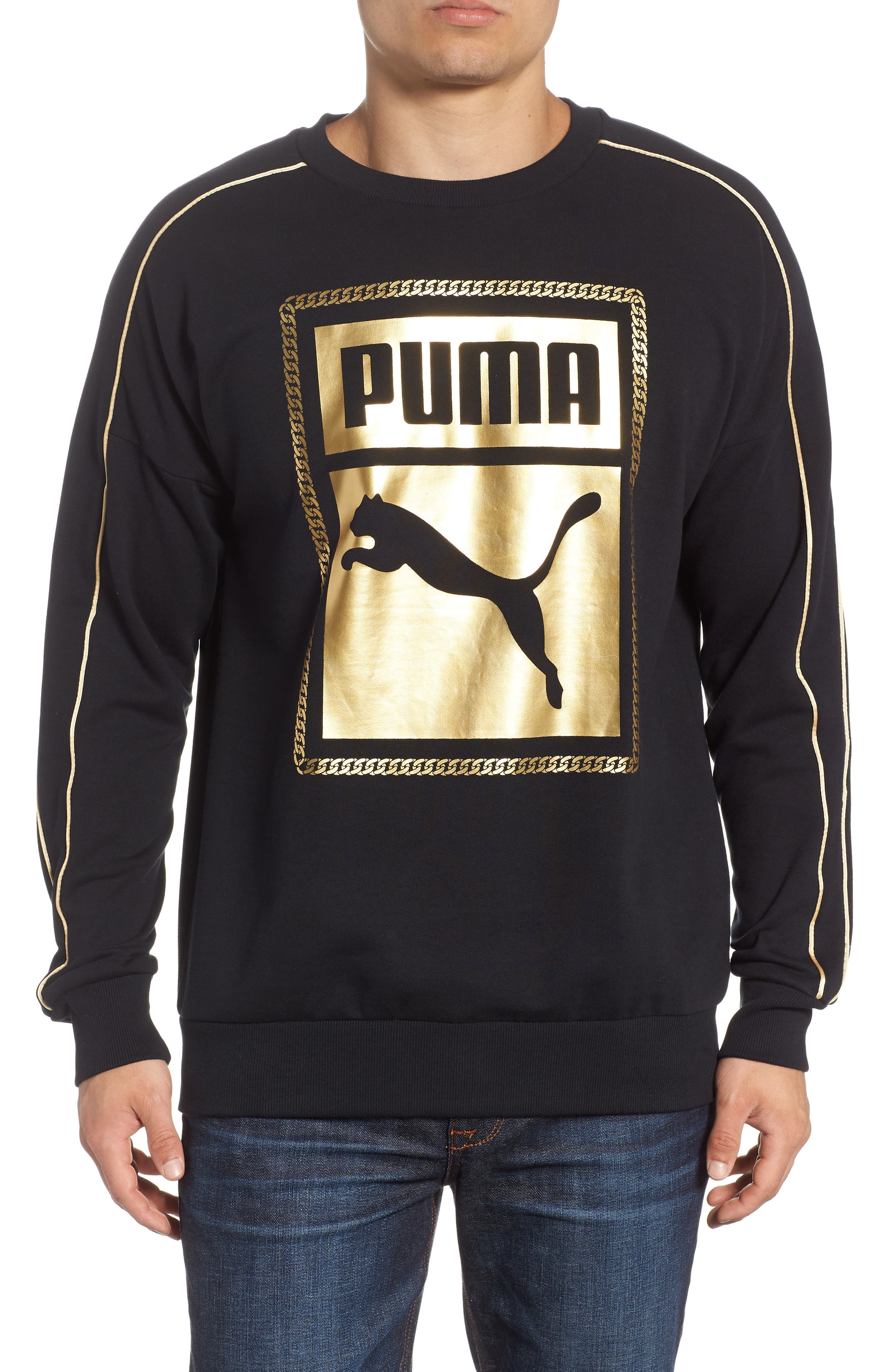 Chains Logo Graphic Sweatshirt,                             Main thumbnail 1, color,                             PUMA BLACK
