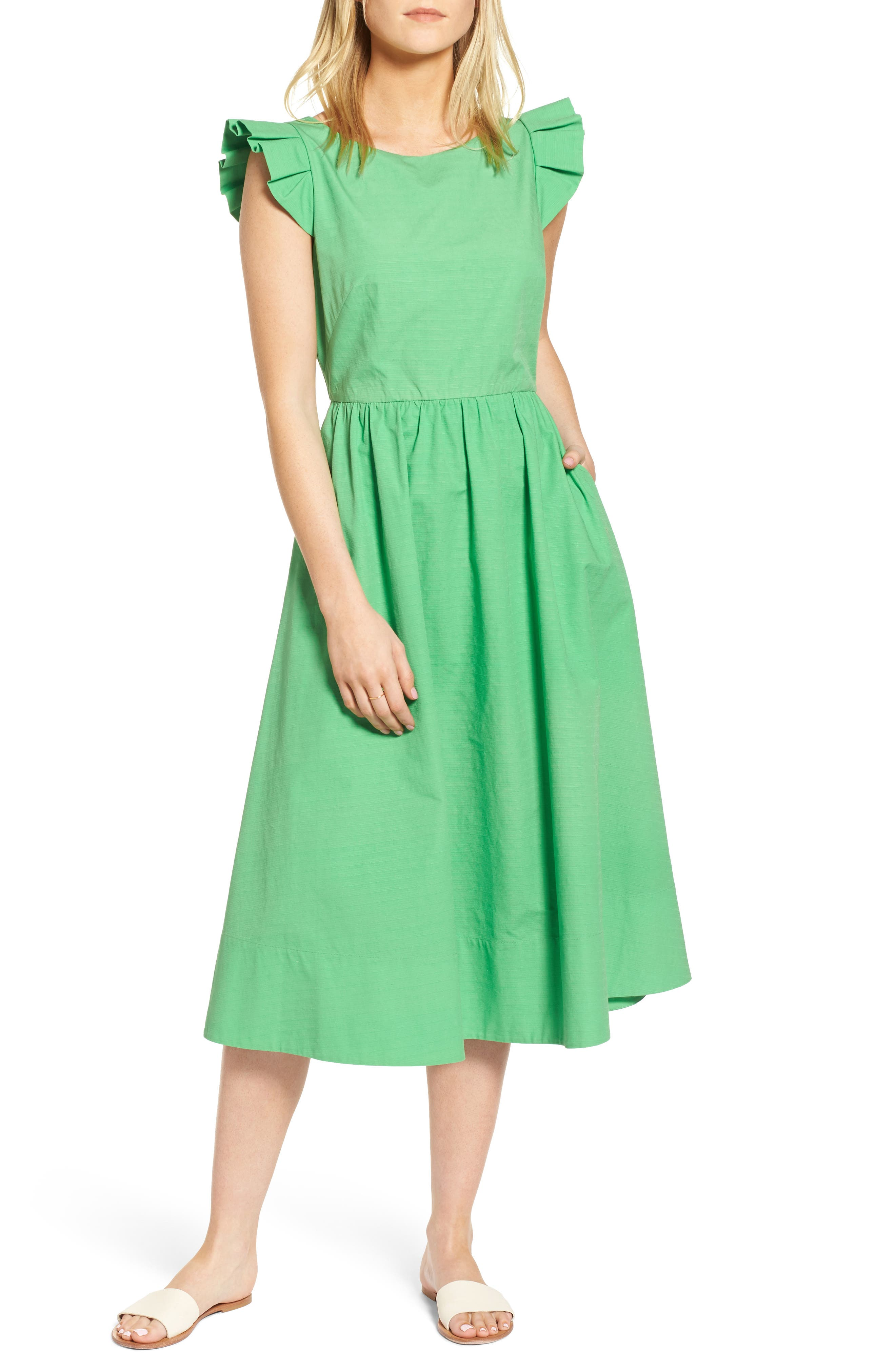 Ruffle Fit & Flare Midi Dress,                             Main thumbnail 1, color,                             330
