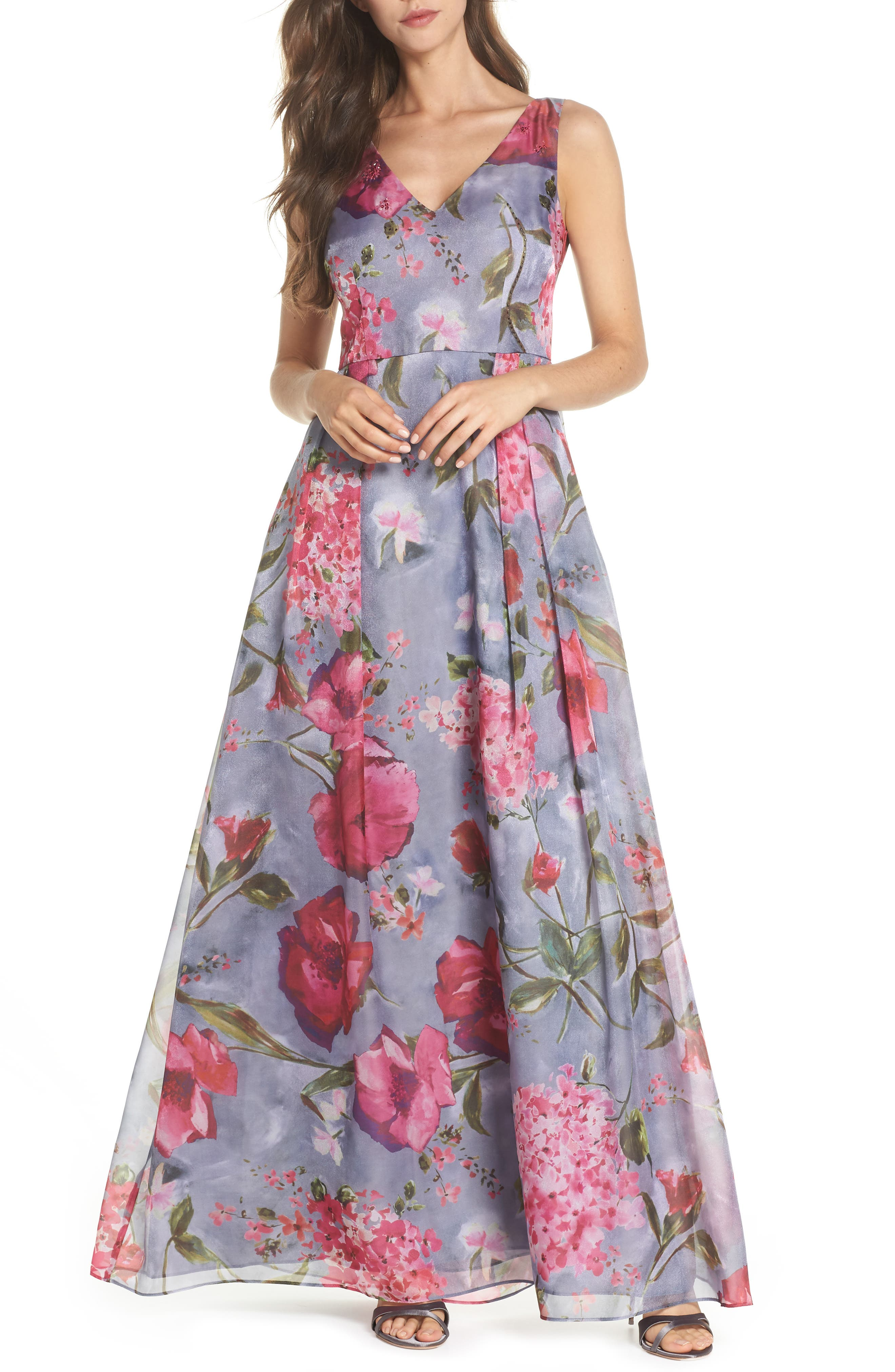 Flower Print Organza Gown,                         Main,                         color, 020