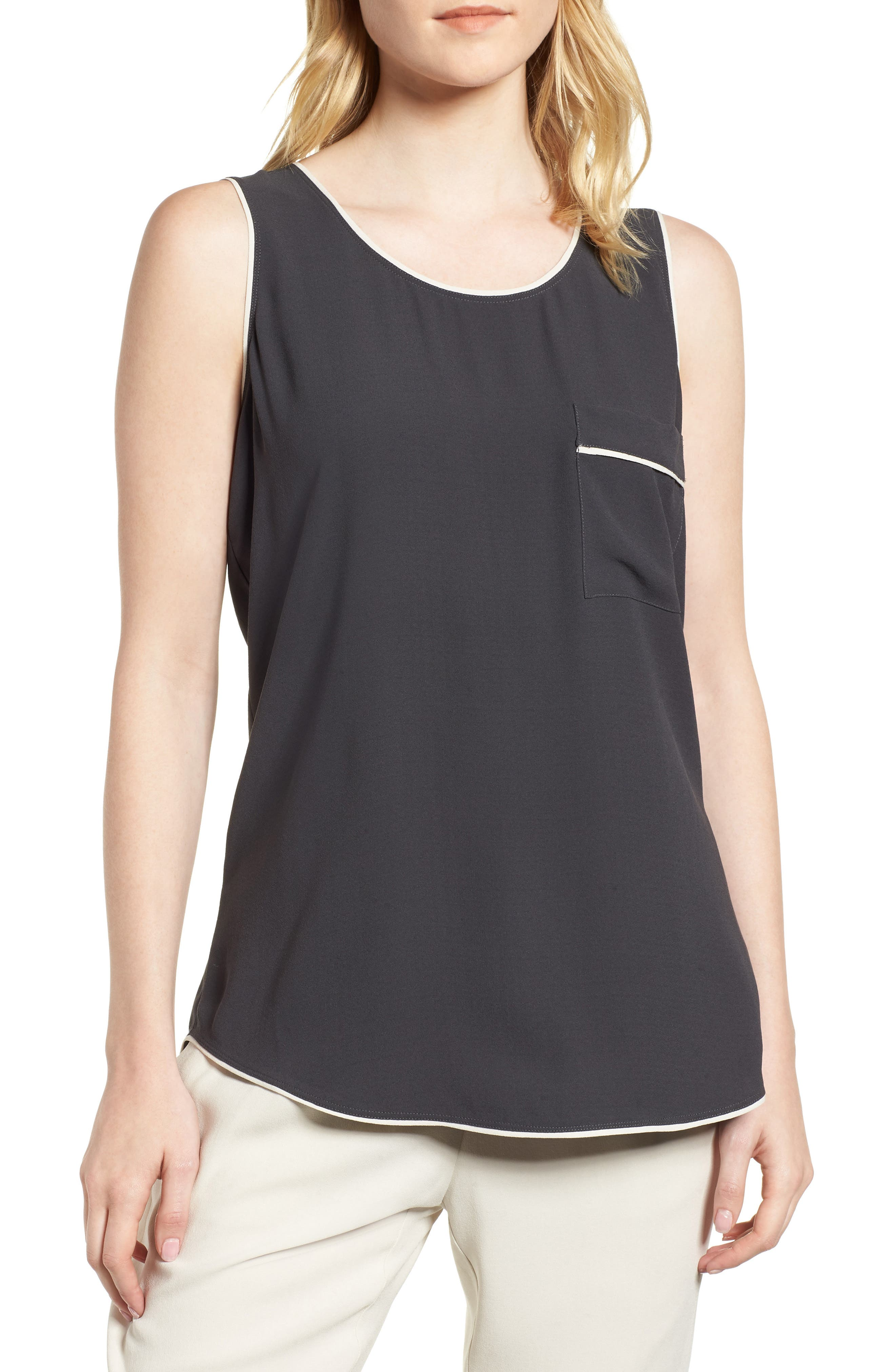 EILEEN FISHER,                             Piped Silk Tank,                             Main thumbnail 1, color,                             025