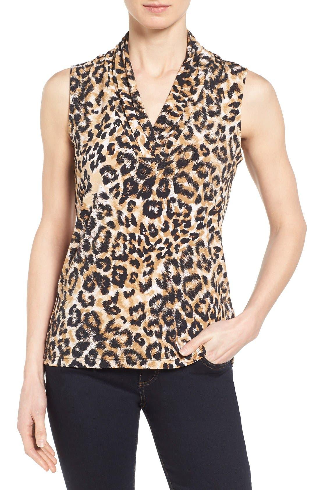 Leopard Print Pleat V-Neck Top,                             Main thumbnail 1, color,                             001