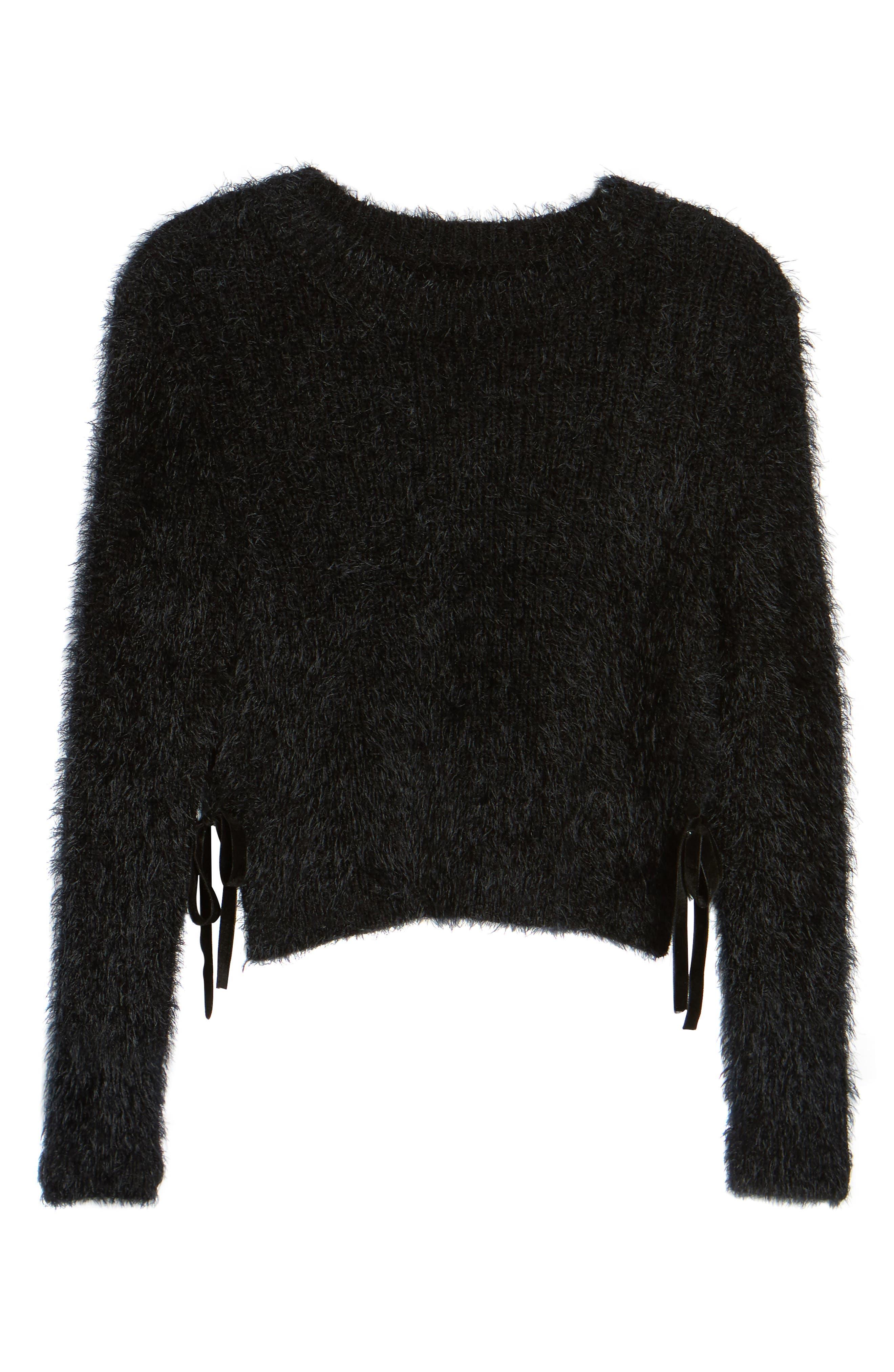 MAJORELLE,                             Majesty Tie Crop Sweater,                             Alternate thumbnail 6, color,                             001