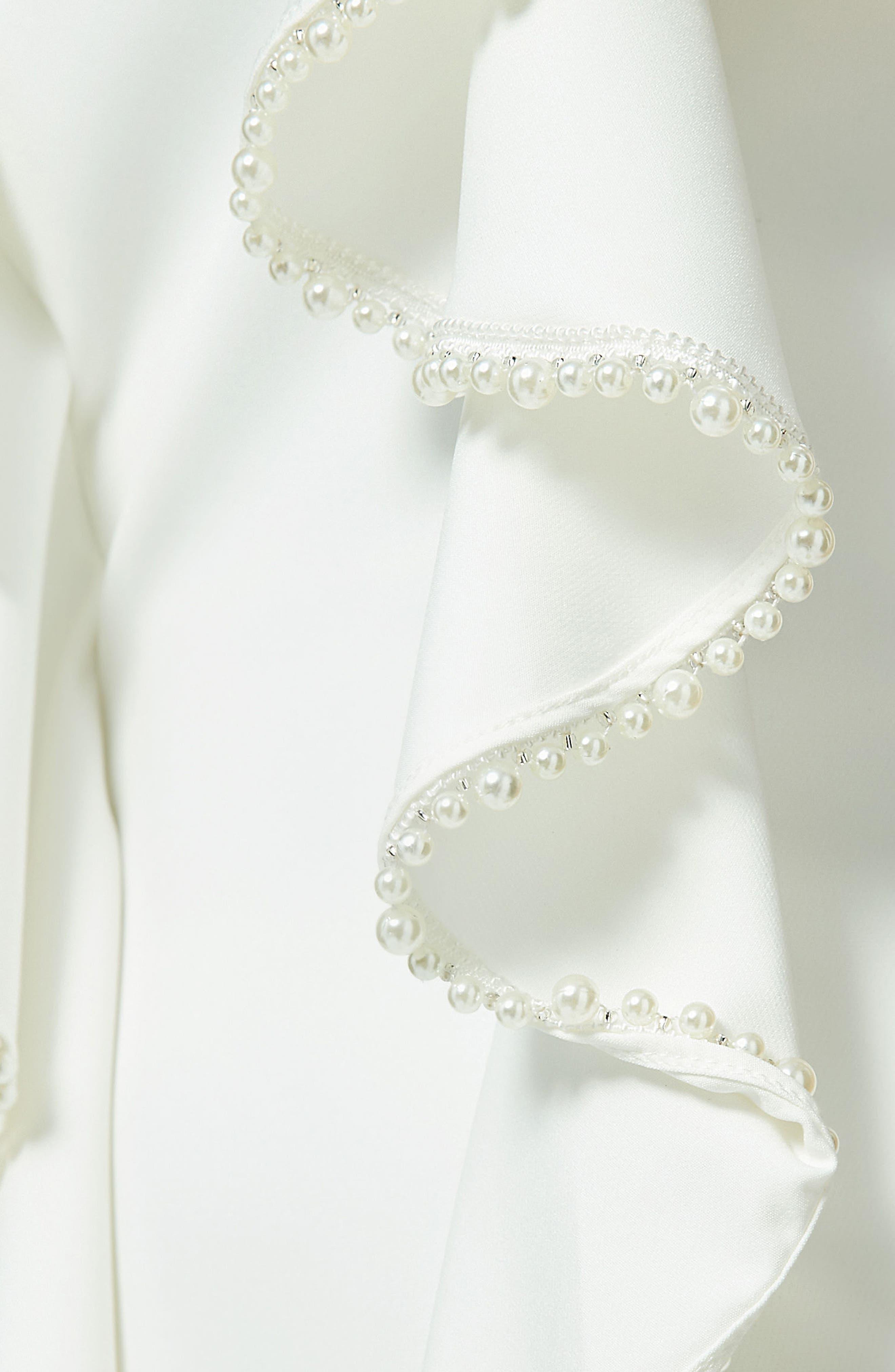 Frill & Pearl Body-Con Dress,                             Alternate thumbnail 3, color,