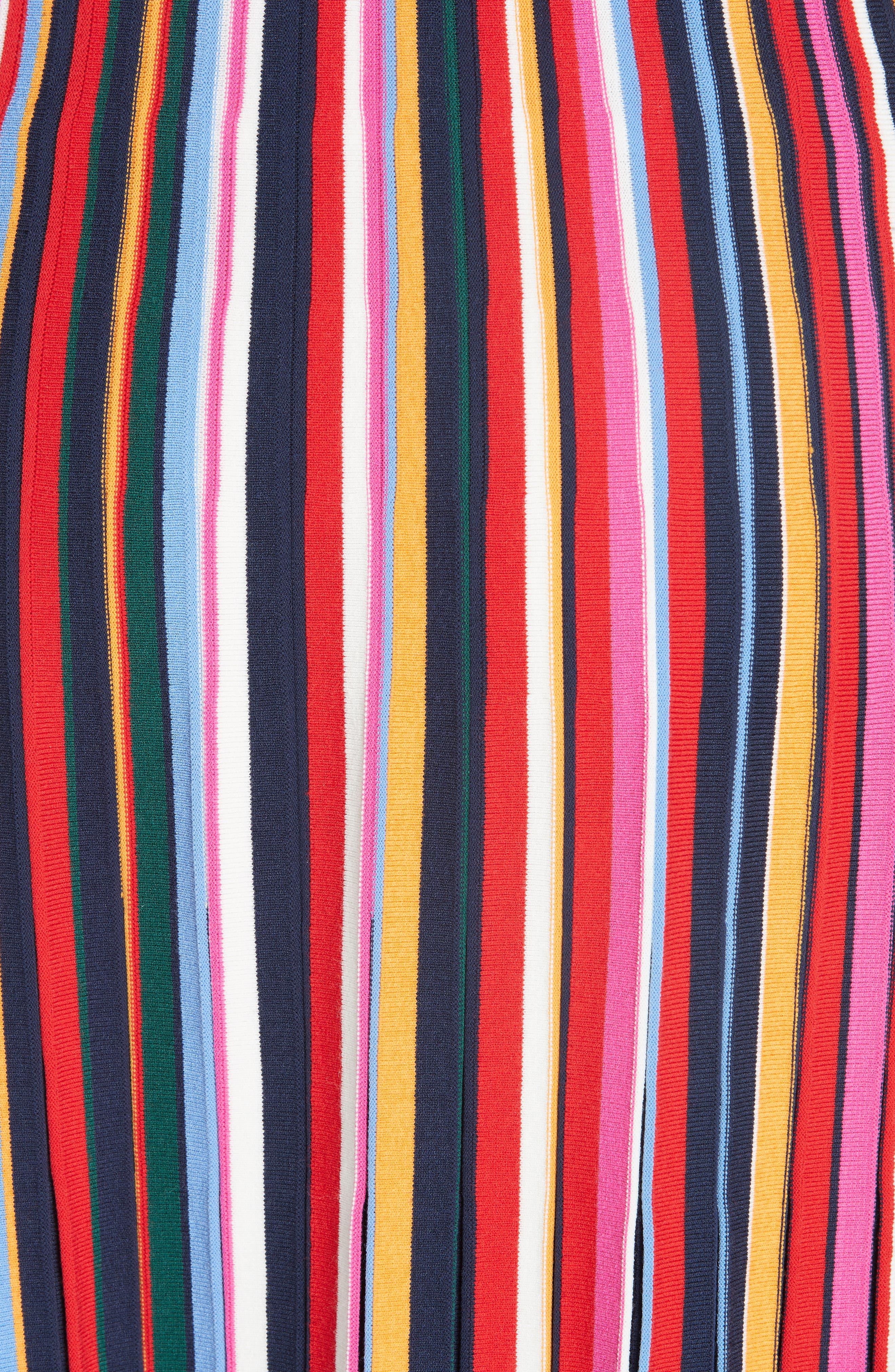 Ellis Stripe Pleated Skirt,                             Alternate thumbnail 5, color,                             405