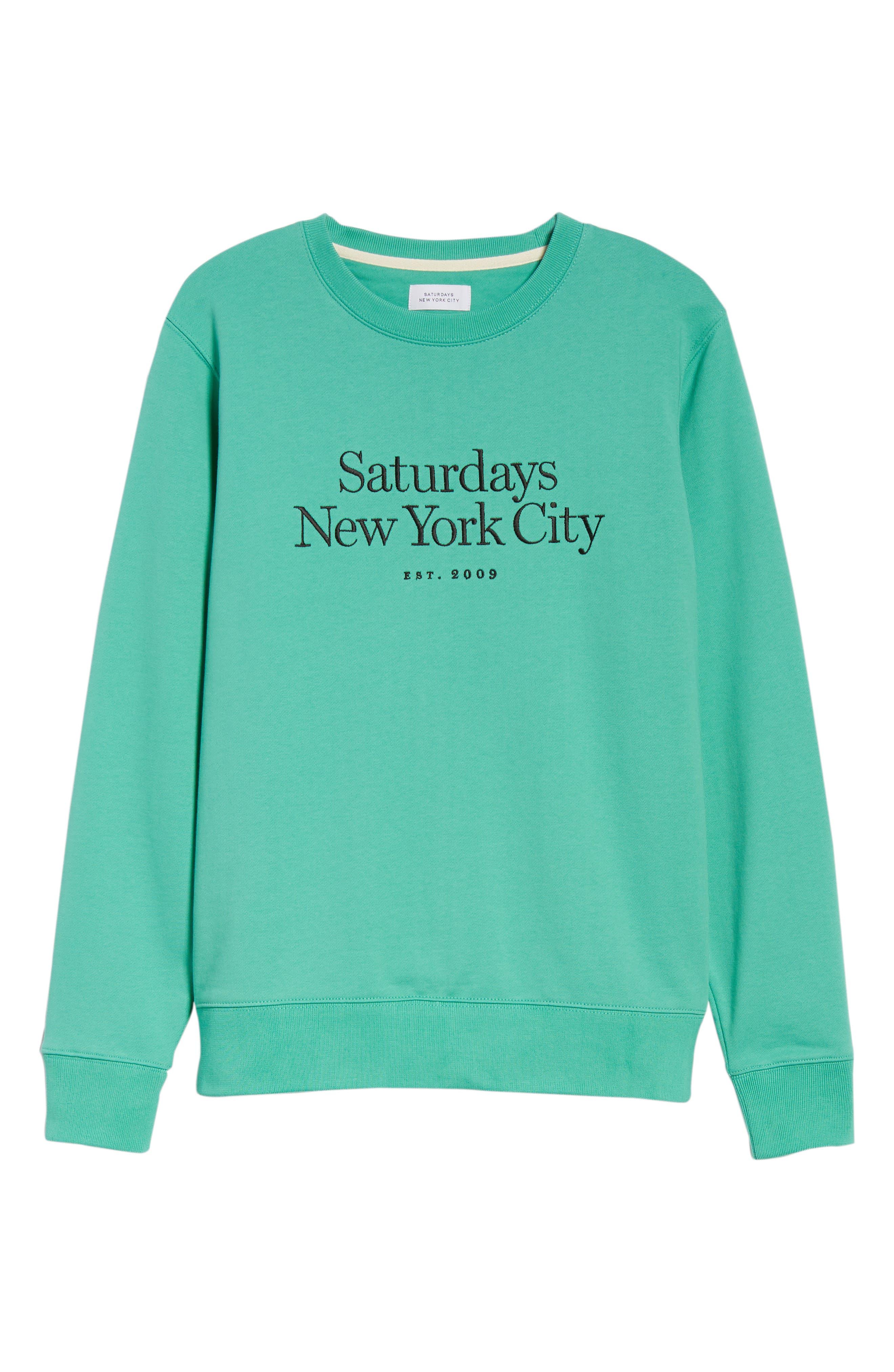 Bowery Embroidered Fleece Sweatshirt,                             Alternate thumbnail 6, color,                             SEAFOAM GREEN