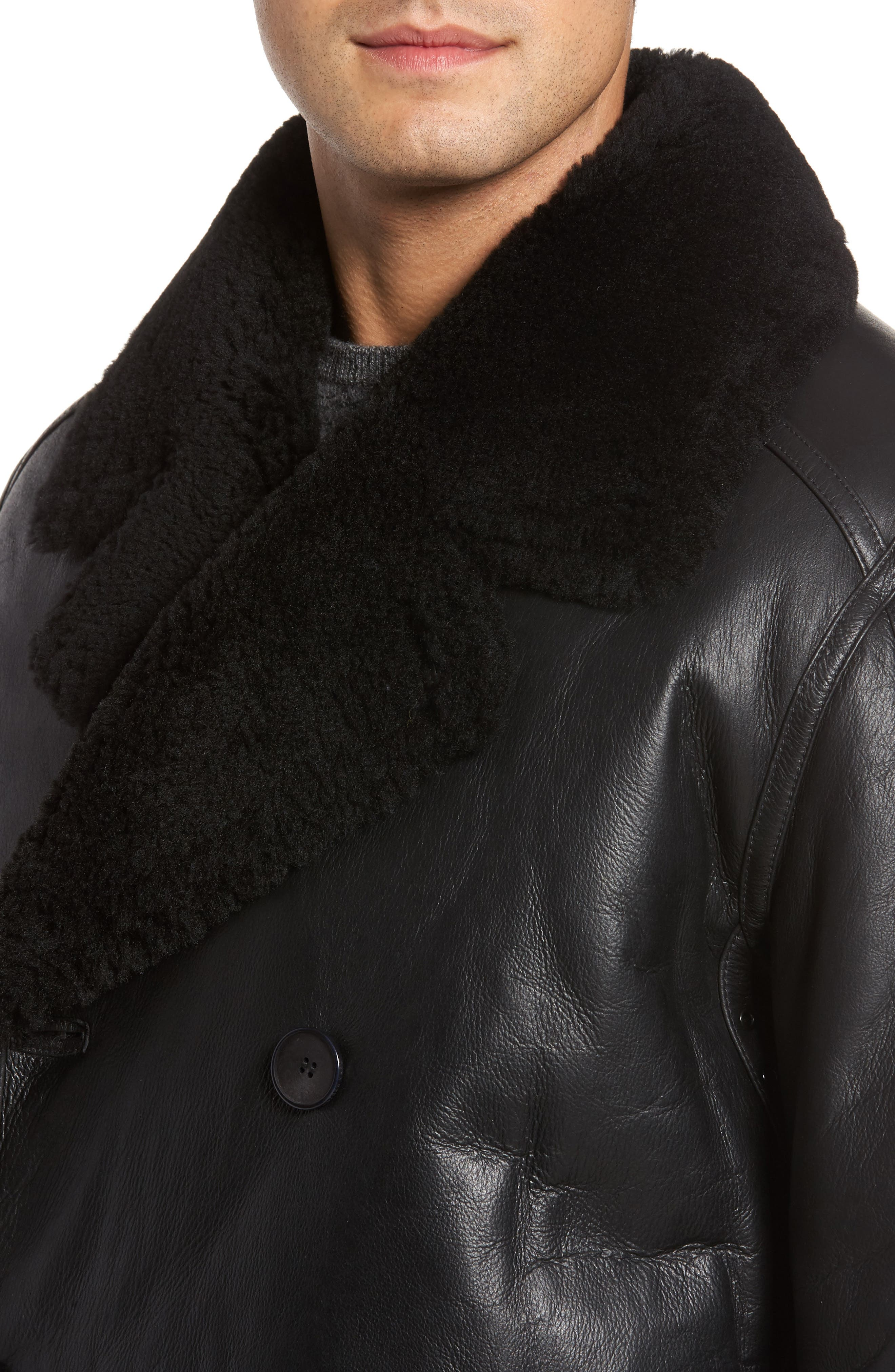 Marc New York Frontier Double Breasted Genuine Shearling Jacket,                             Alternate thumbnail 4, color,                             001