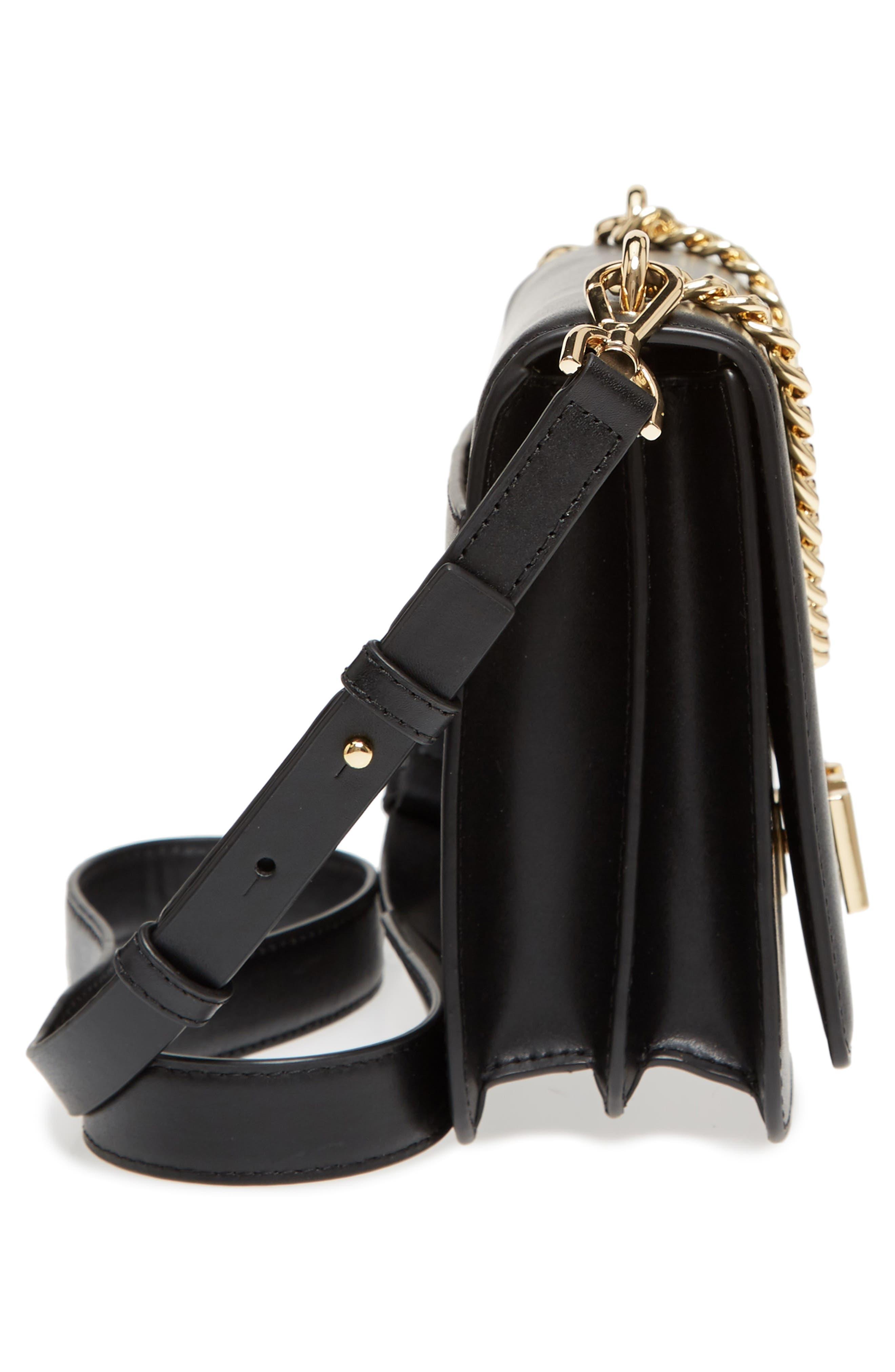 Large Mott Chain Swag Leather Shoulder Bag,                             Alternate thumbnail 5, color,                             001