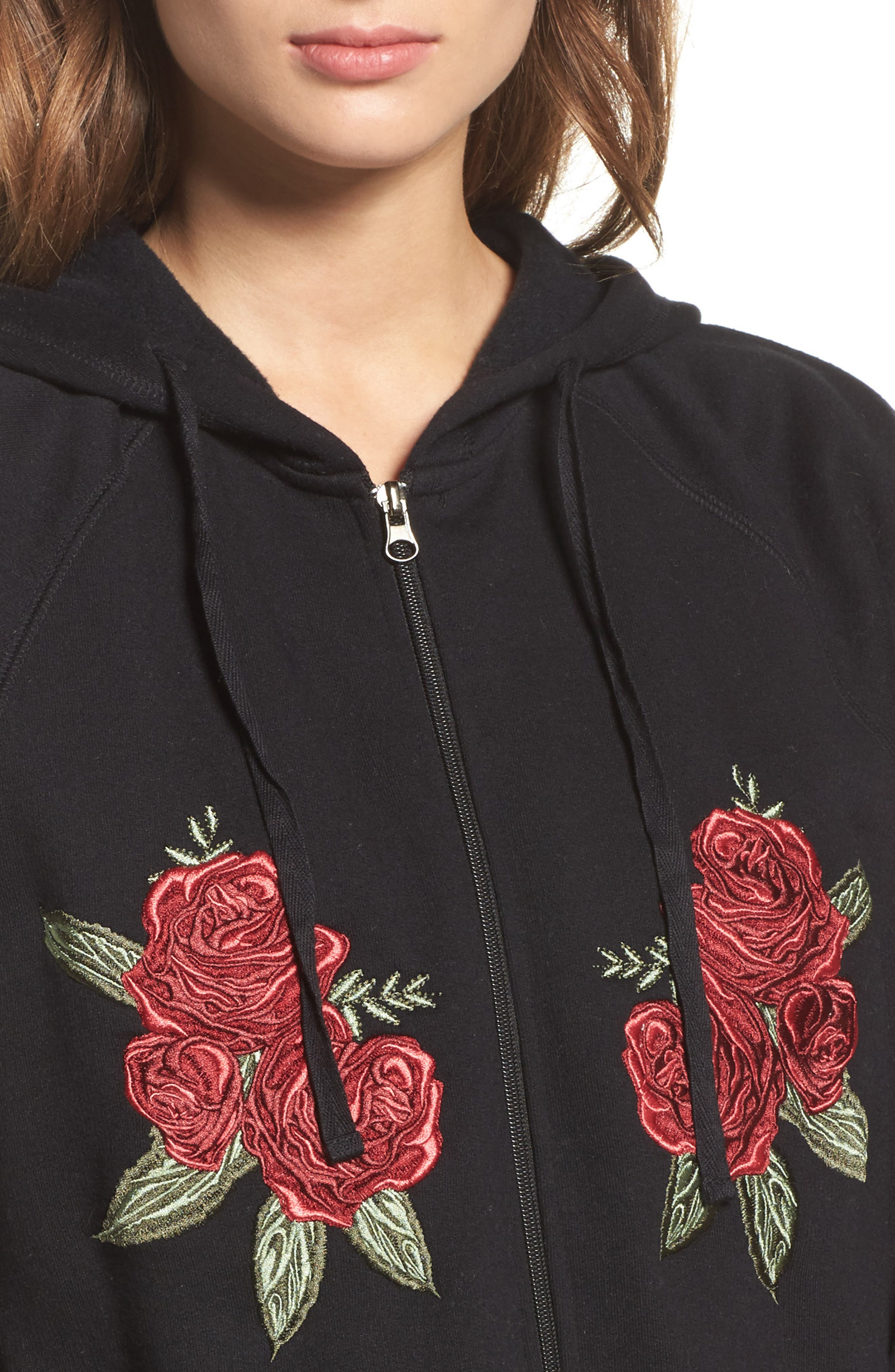 Brunette Embroidered Zip Hoodie,                             Alternate thumbnail 4, color,