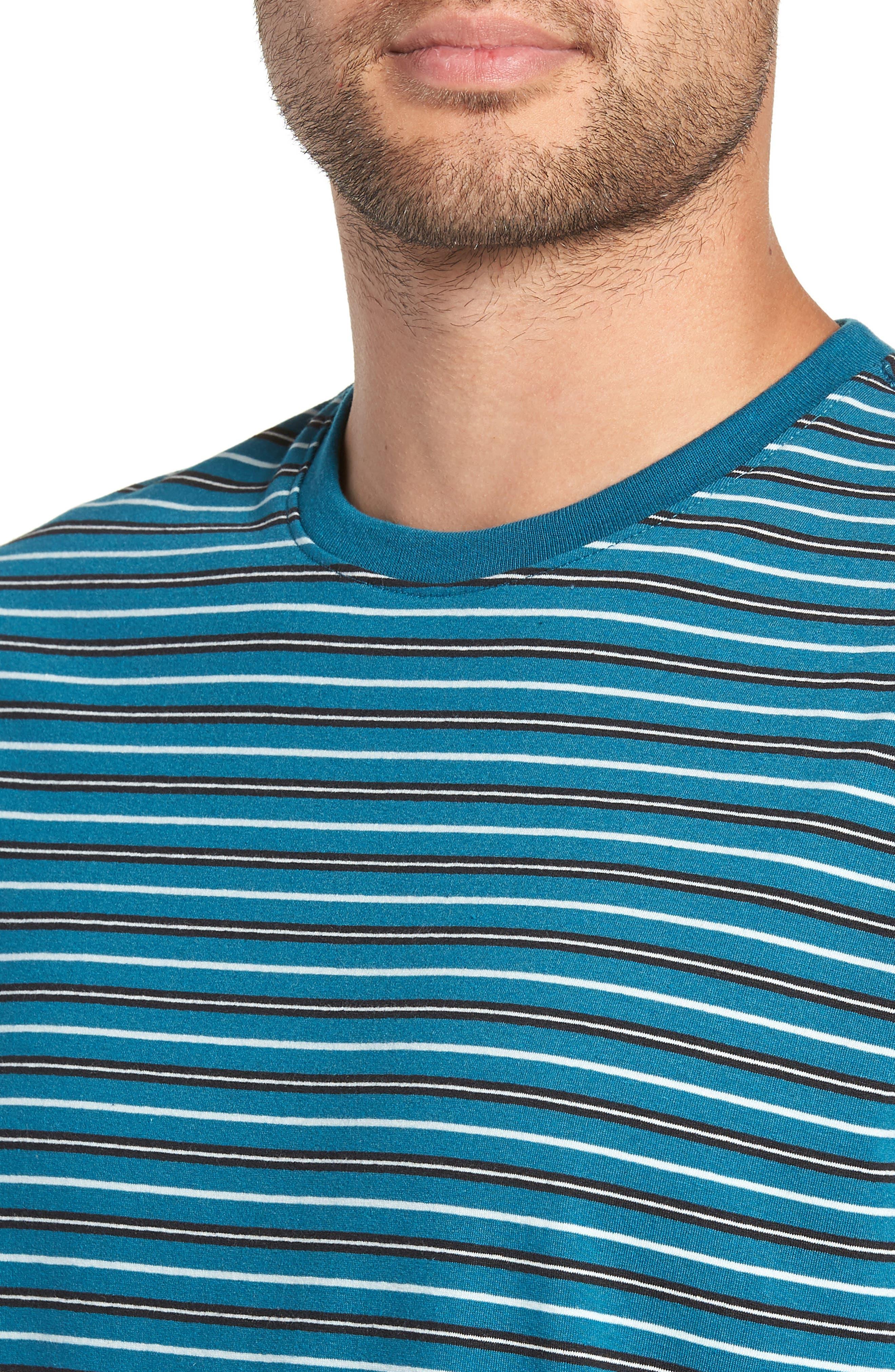 Striped T-Shirt,                             Alternate thumbnail 4, color,                             TEAL GREEN-WHITE STRIPE