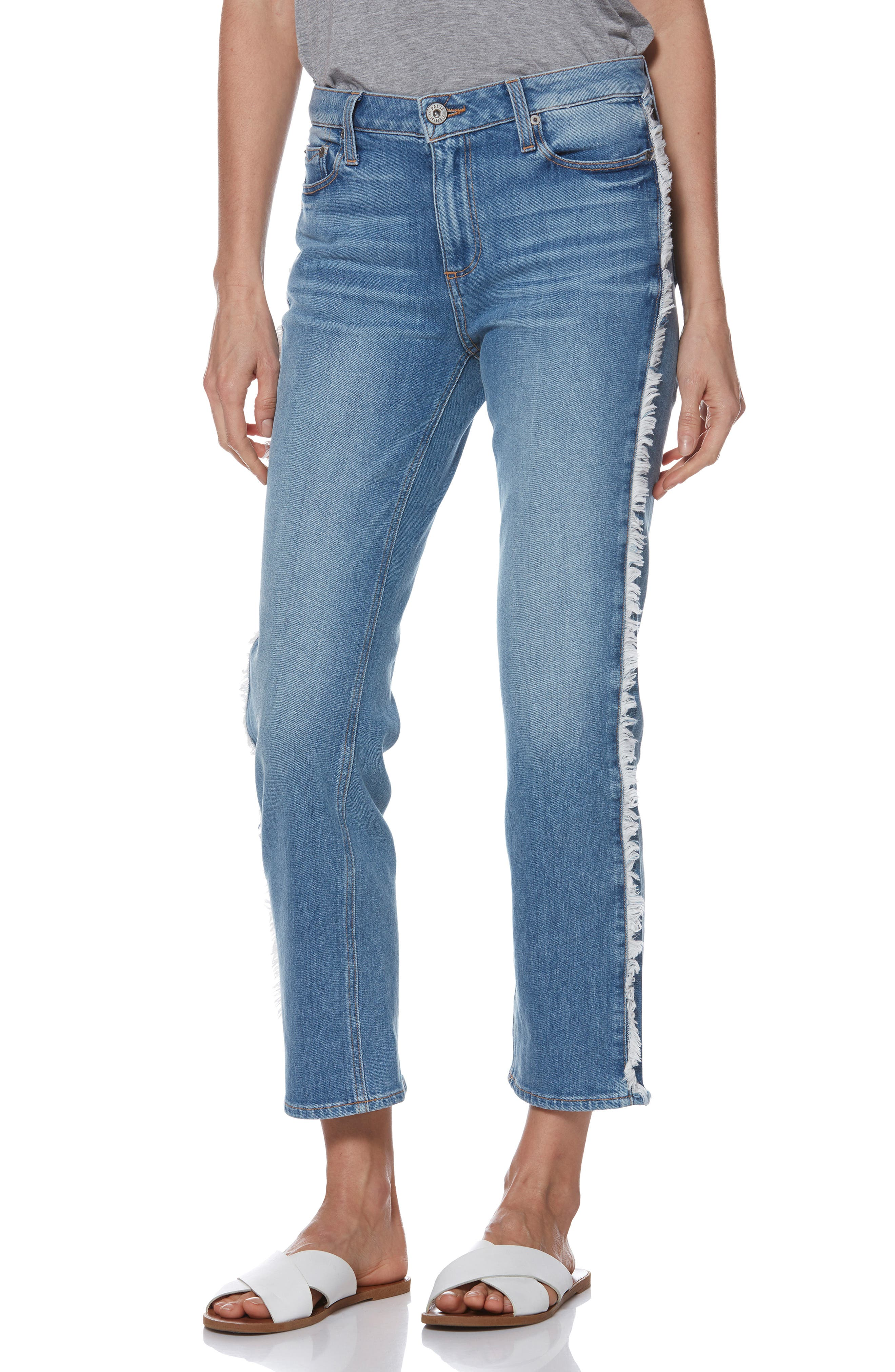 Noella Frayed Side Seam Ankle Jeans, Main, color, BIELLA