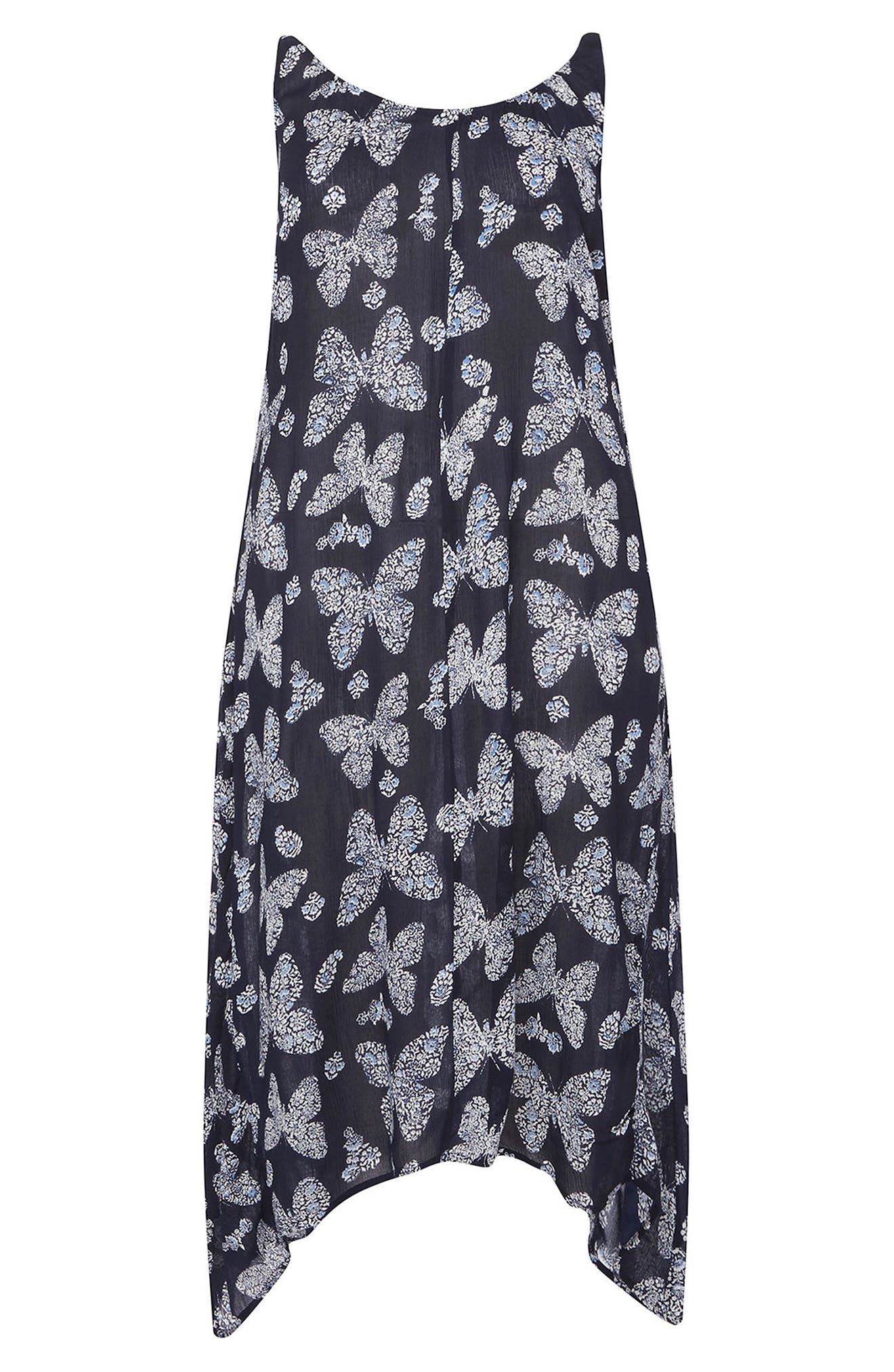 Butterfly Print Handkerchief Hem Maxi Dress,                             Alternate thumbnail 4, color,                             401