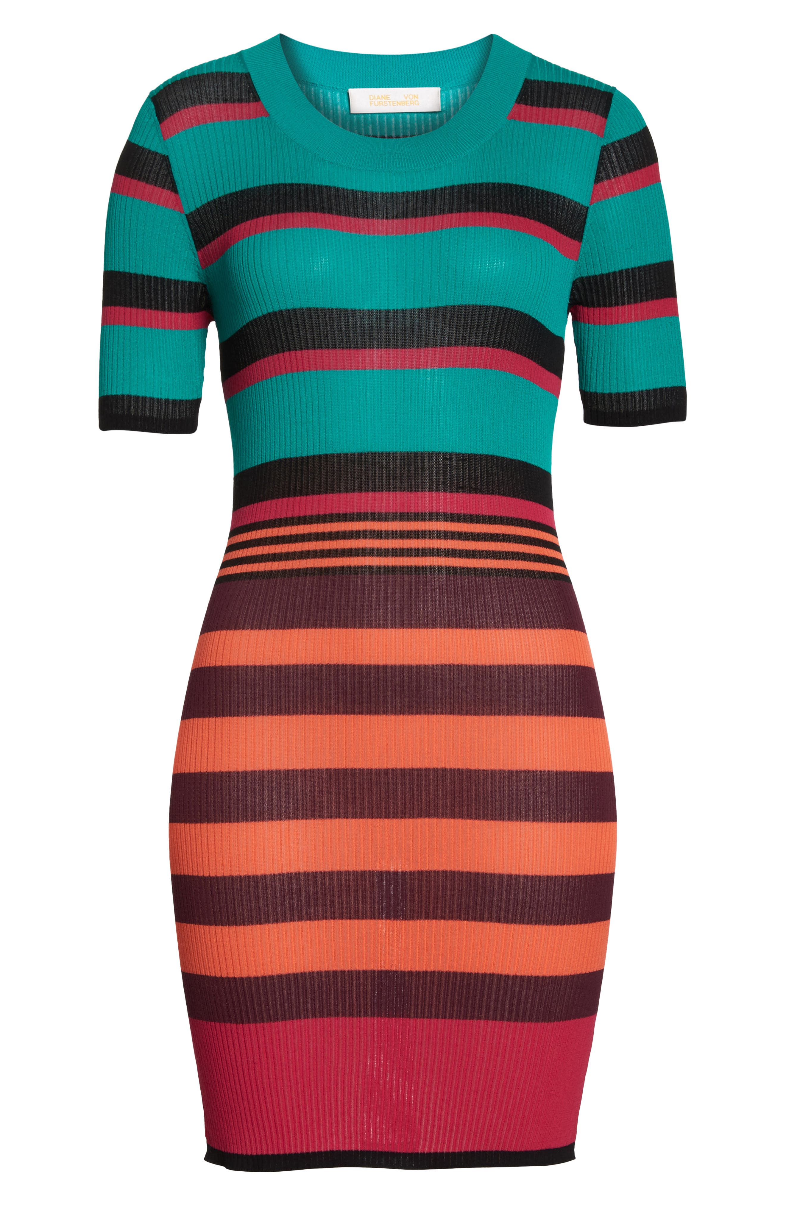DVF Stripe Ribbed Cover-Up Sweater Dress,                             Alternate thumbnail 6, color,                             BRIGHT BLUE