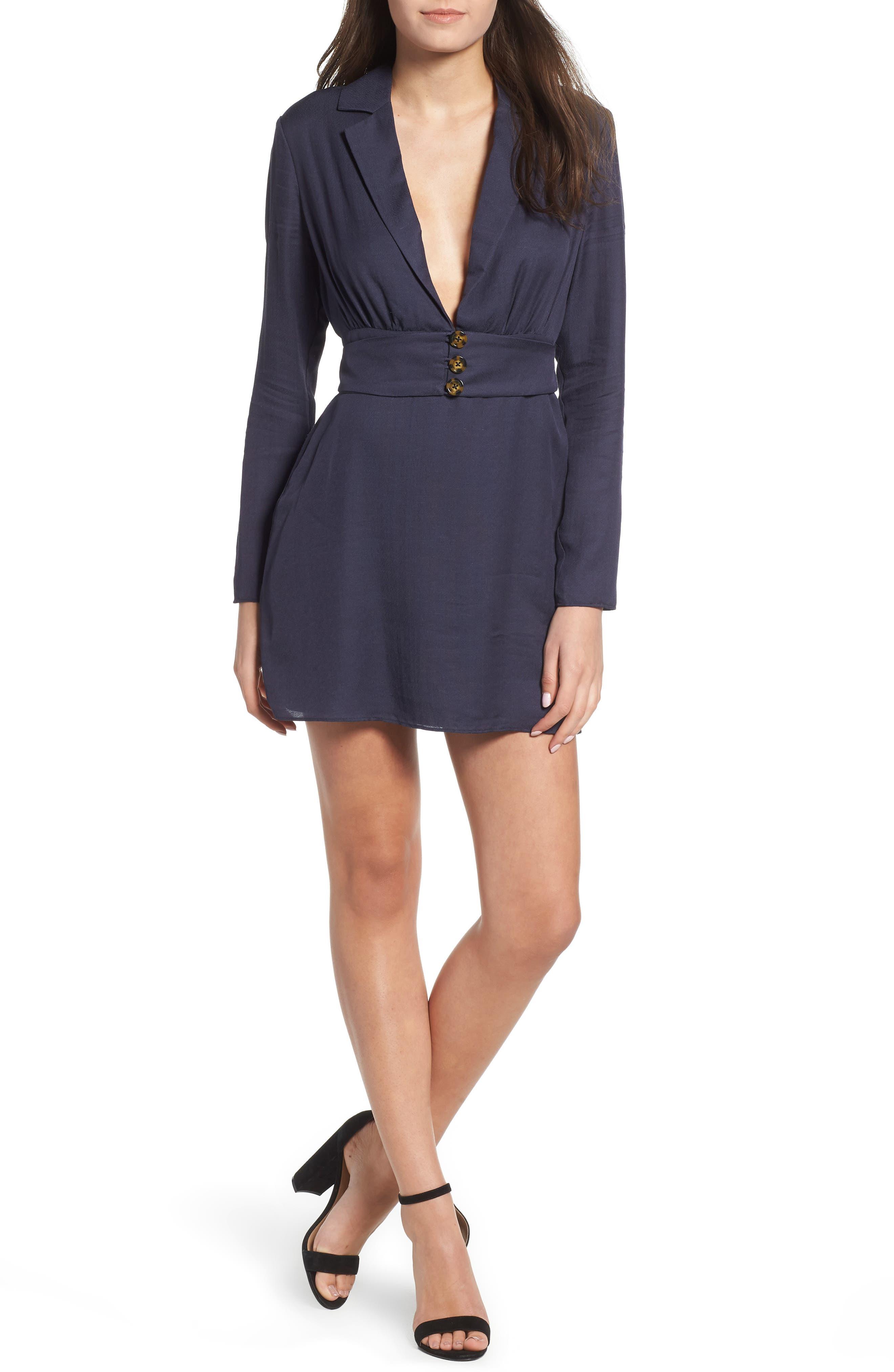 Roxanne Plunge Minidress,                         Main,                         color, 410