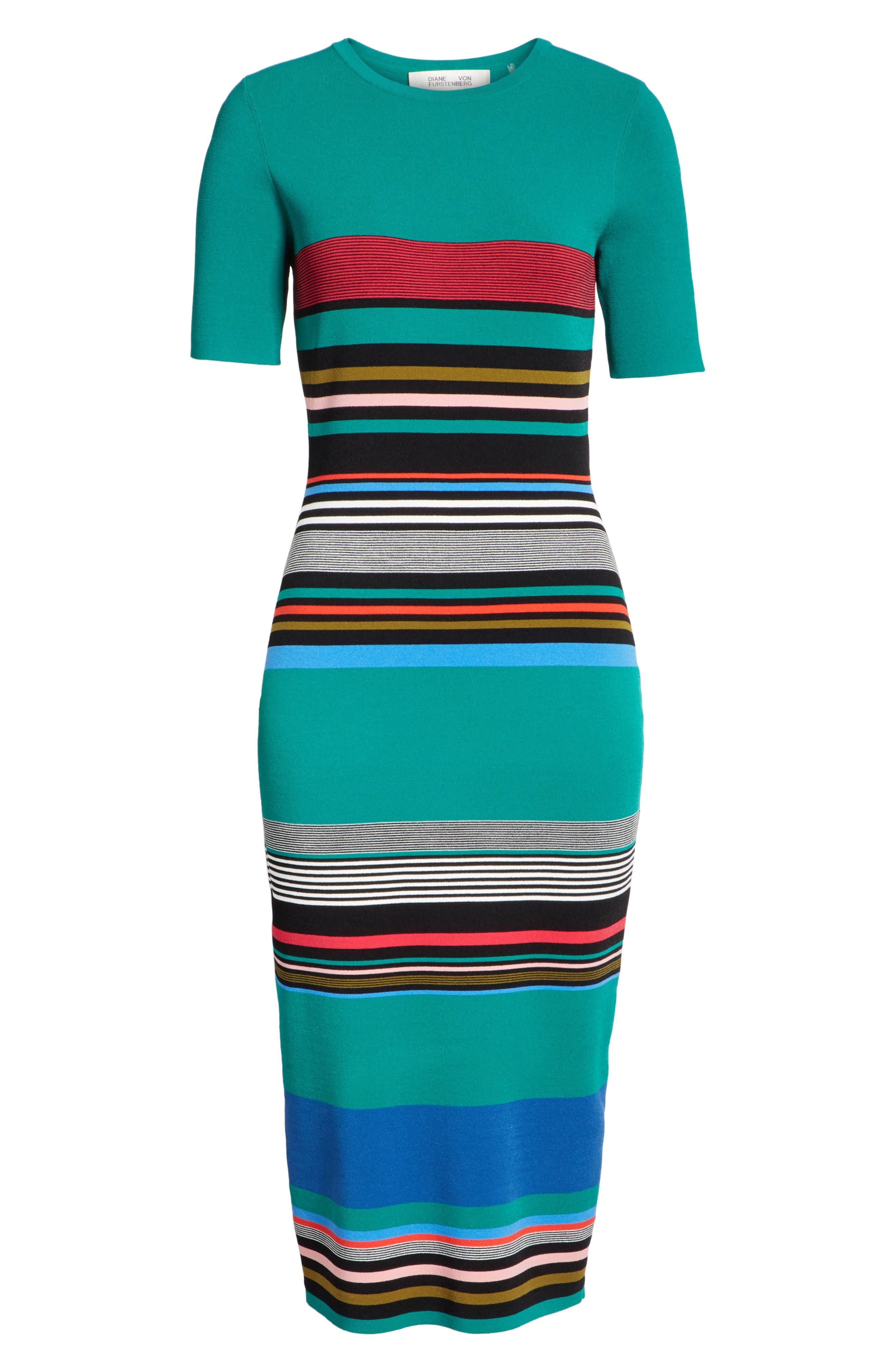 Diane von Furstenberg Stripe Short Sleeve Sweater Dress,                             Alternate thumbnail 6, color,                             386