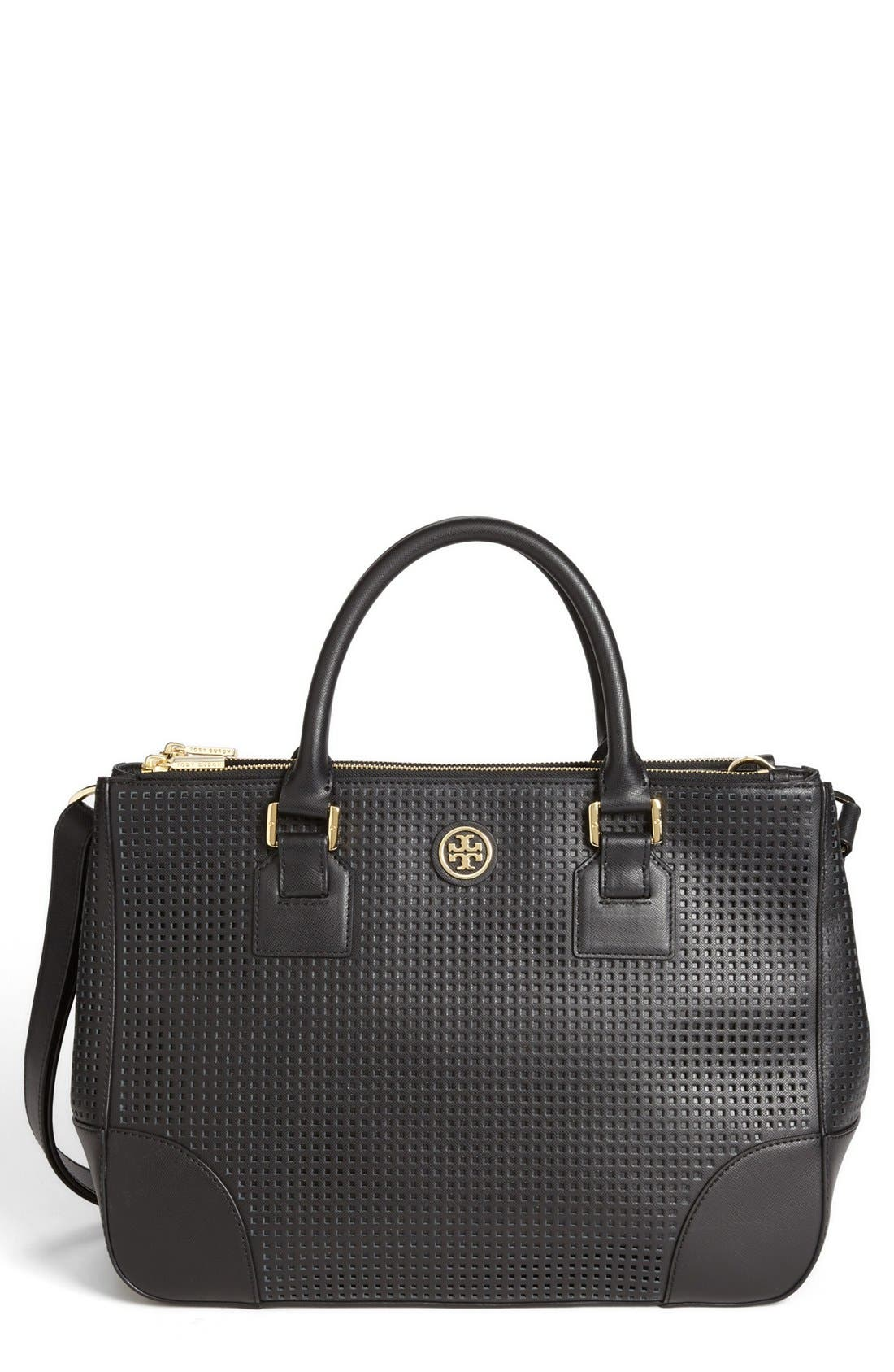 'Robinson' Double Zip Perforated Leather Tote,                             Main thumbnail 1, color,                             001
