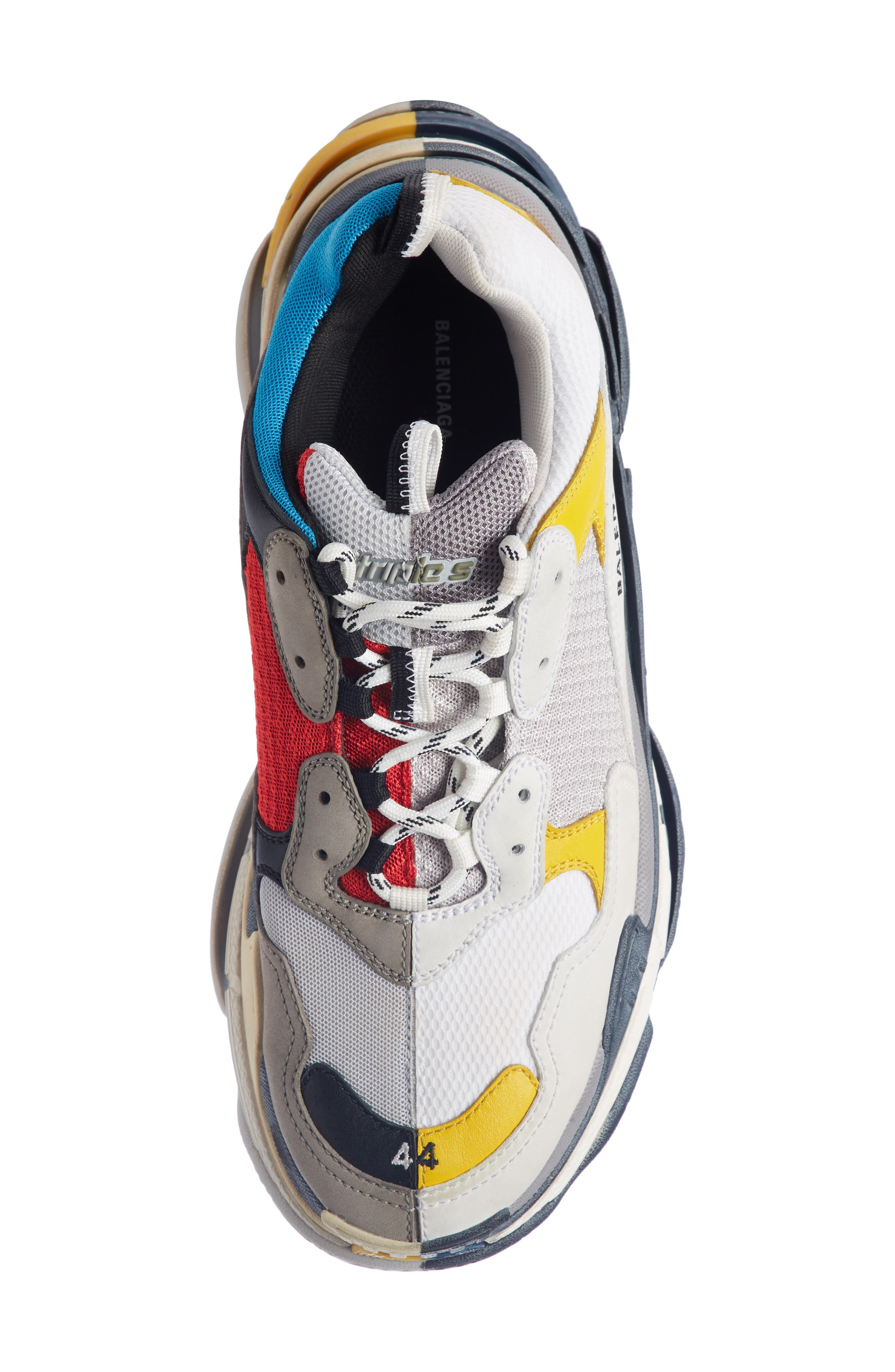 Triple-S Split Sneaker,                             Alternate thumbnail 4, color,                             BEIGE/ ROUGE