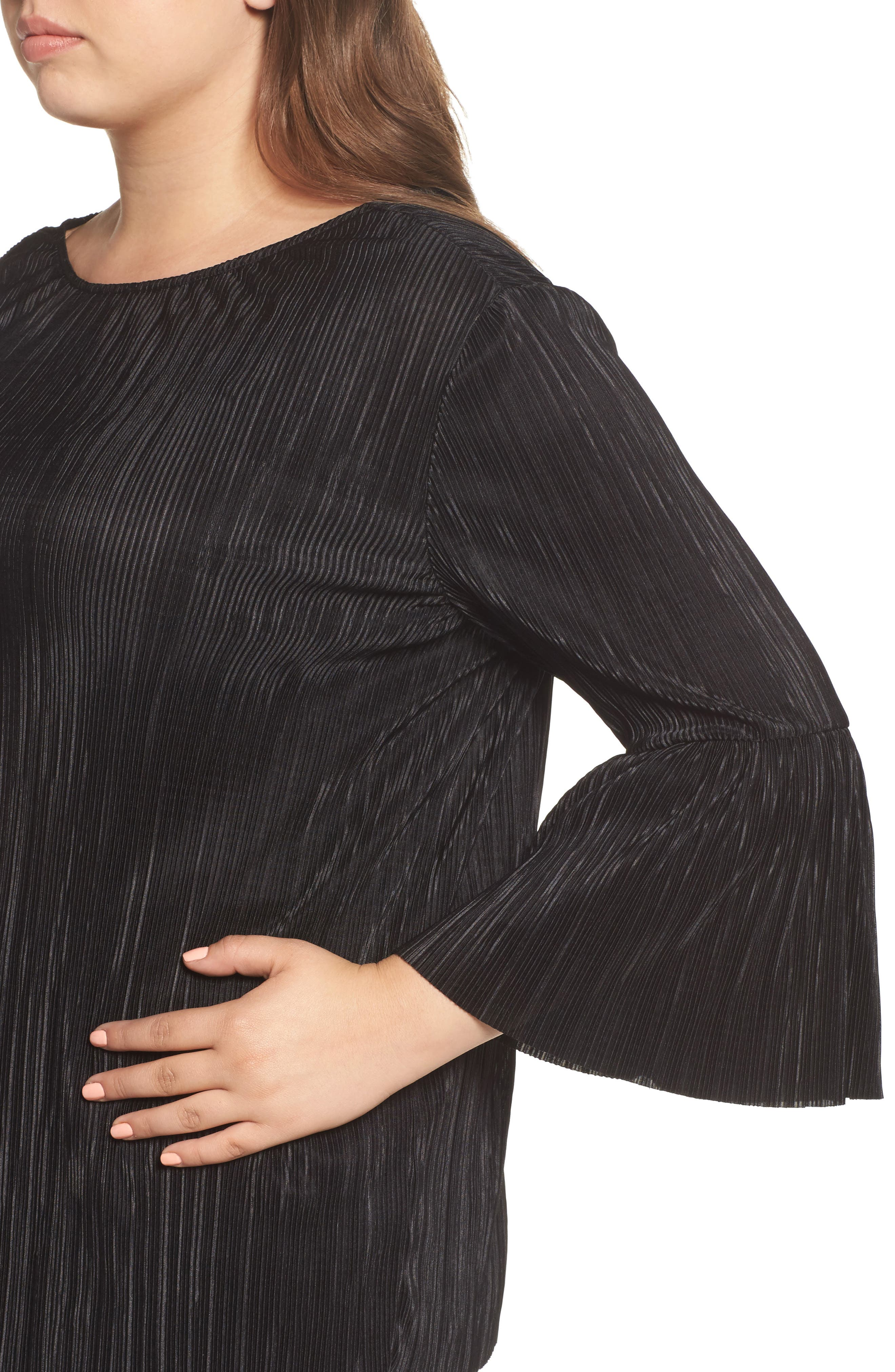 Pleated Knit Bell Sleeve Top,                             Alternate thumbnail 4, color,                             010