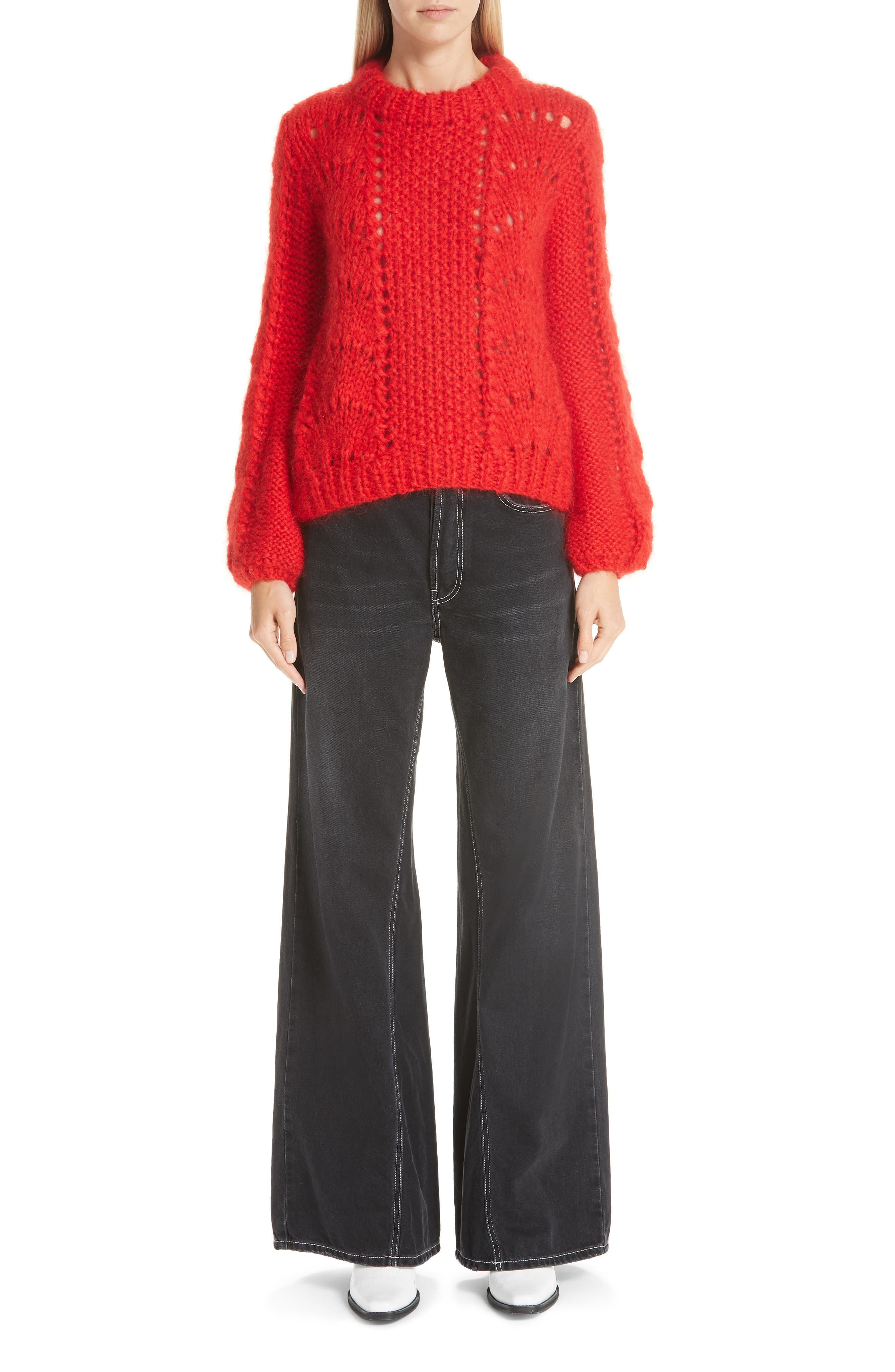 GANNI,                             Mohair & Wool Sweater,                             Alternate thumbnail 7, color,                             FIERY RED 403