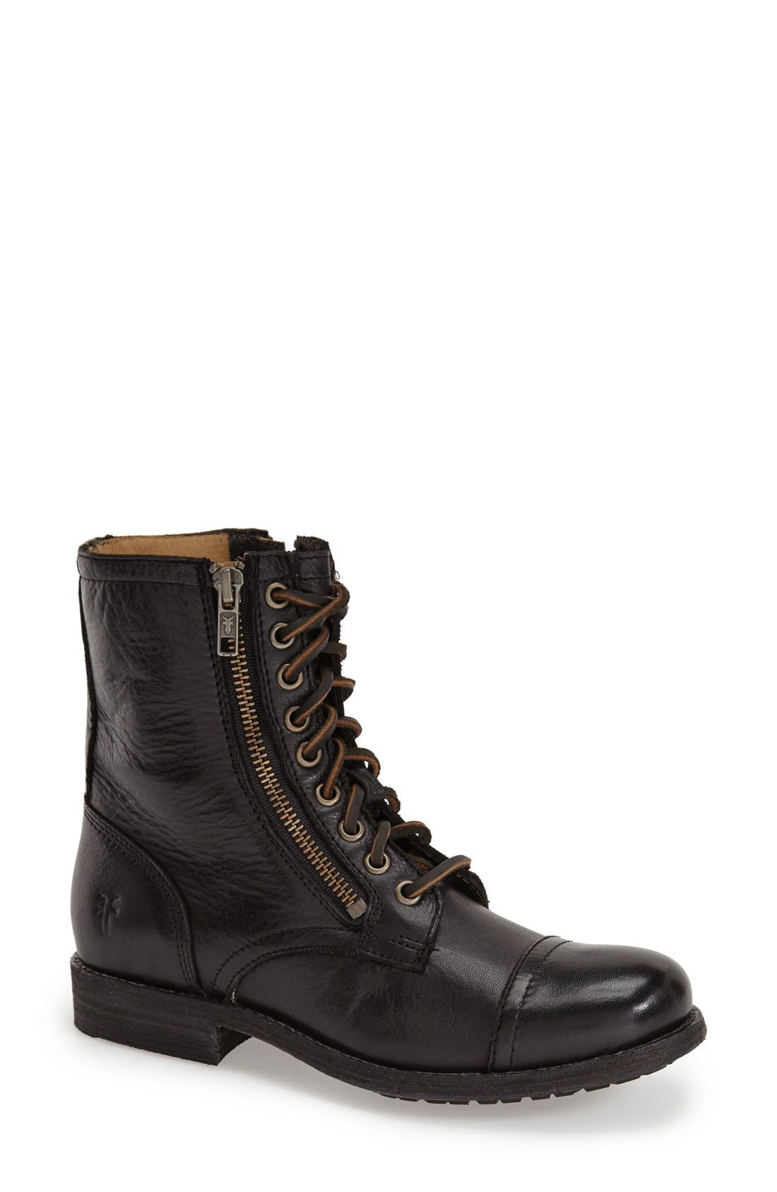 'Tyler' Double Zip Military Boot,                             Main thumbnail 1, color,                             001