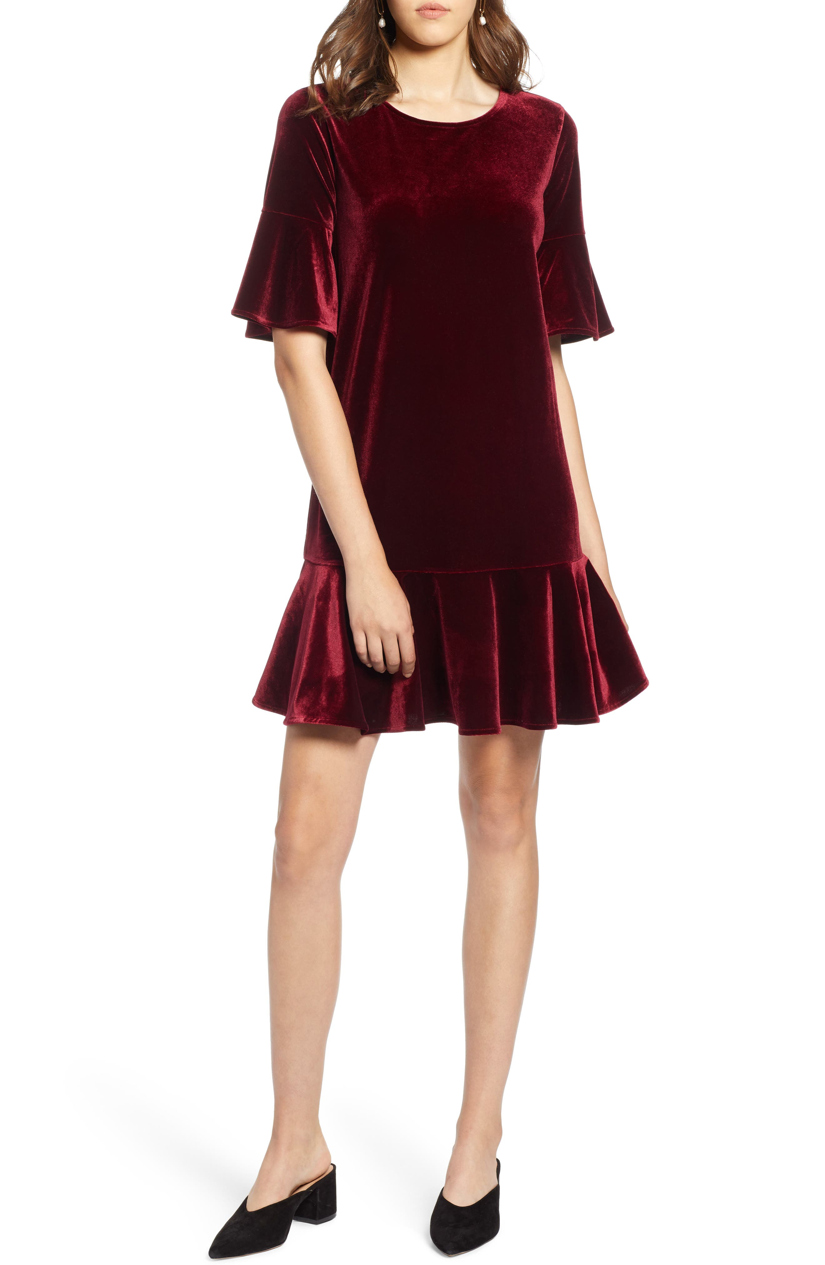 Petite Halogen Ruffle Trim Velvet Dress, Burgundy