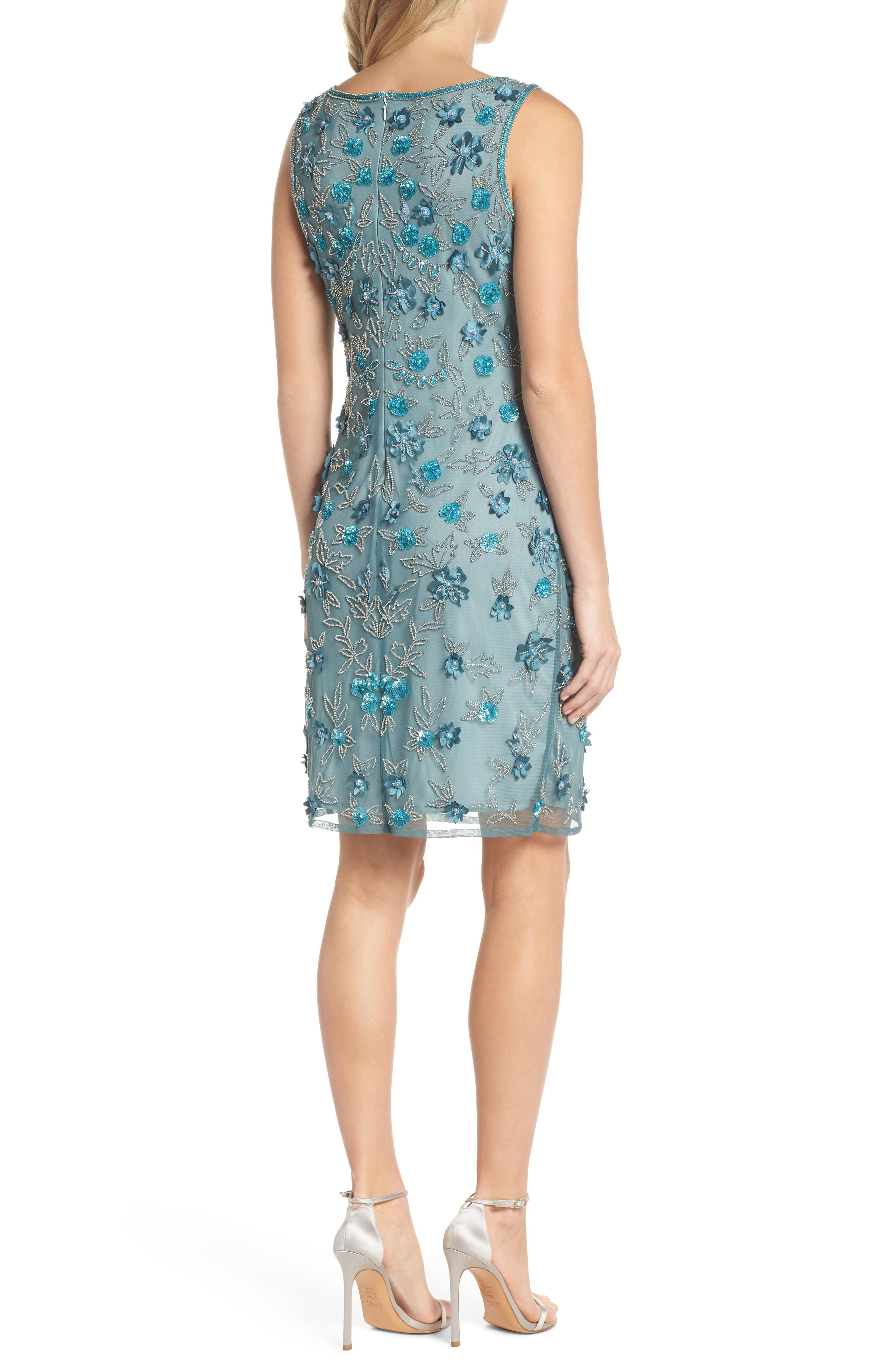 3D Floral Embellished Sheath Dress,                             Alternate thumbnail 2, color,                             400