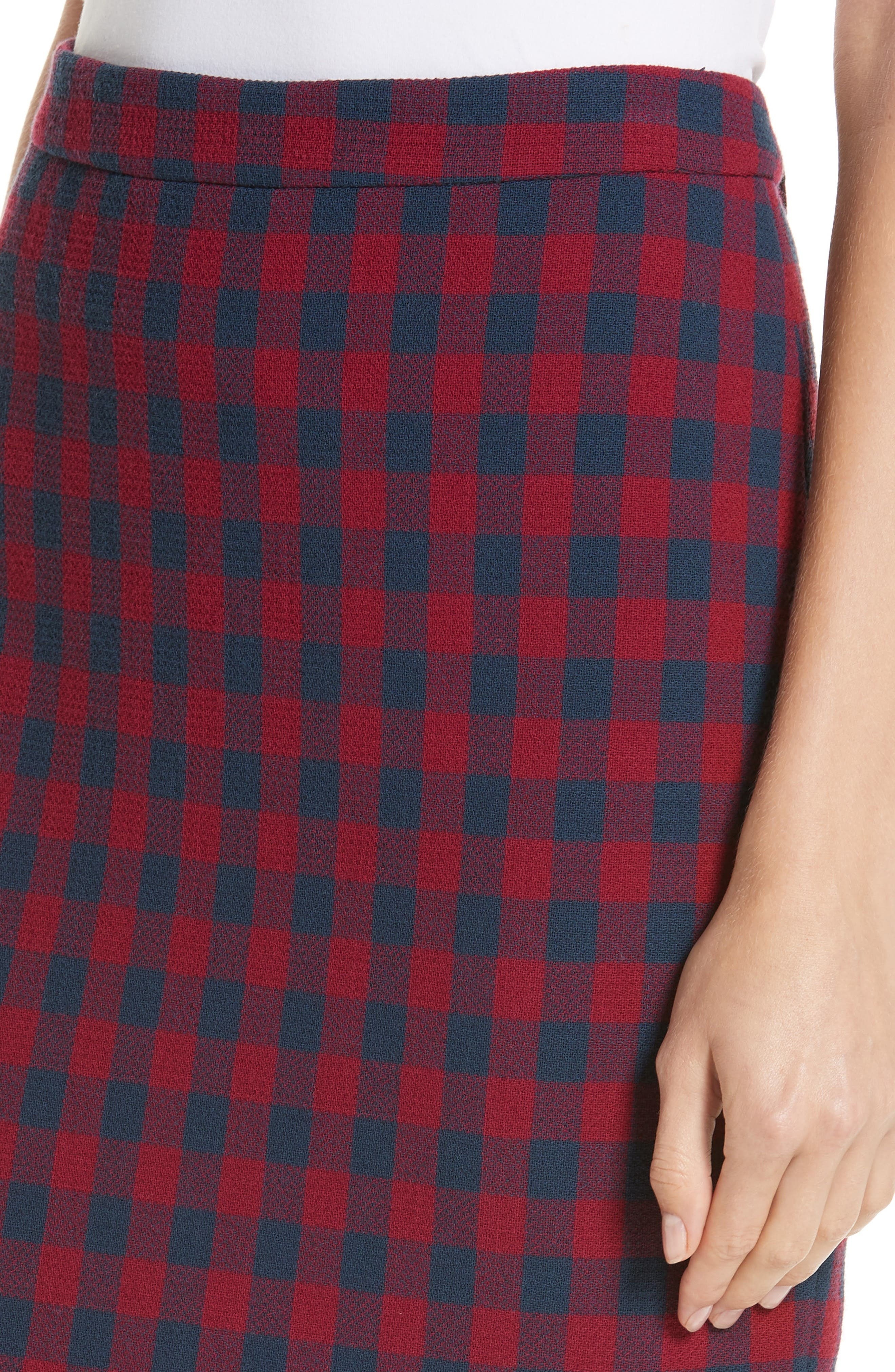Thea Plaid Wool Pencil Skirt,                             Alternate thumbnail 4, color,                             BERRY/ NAVY