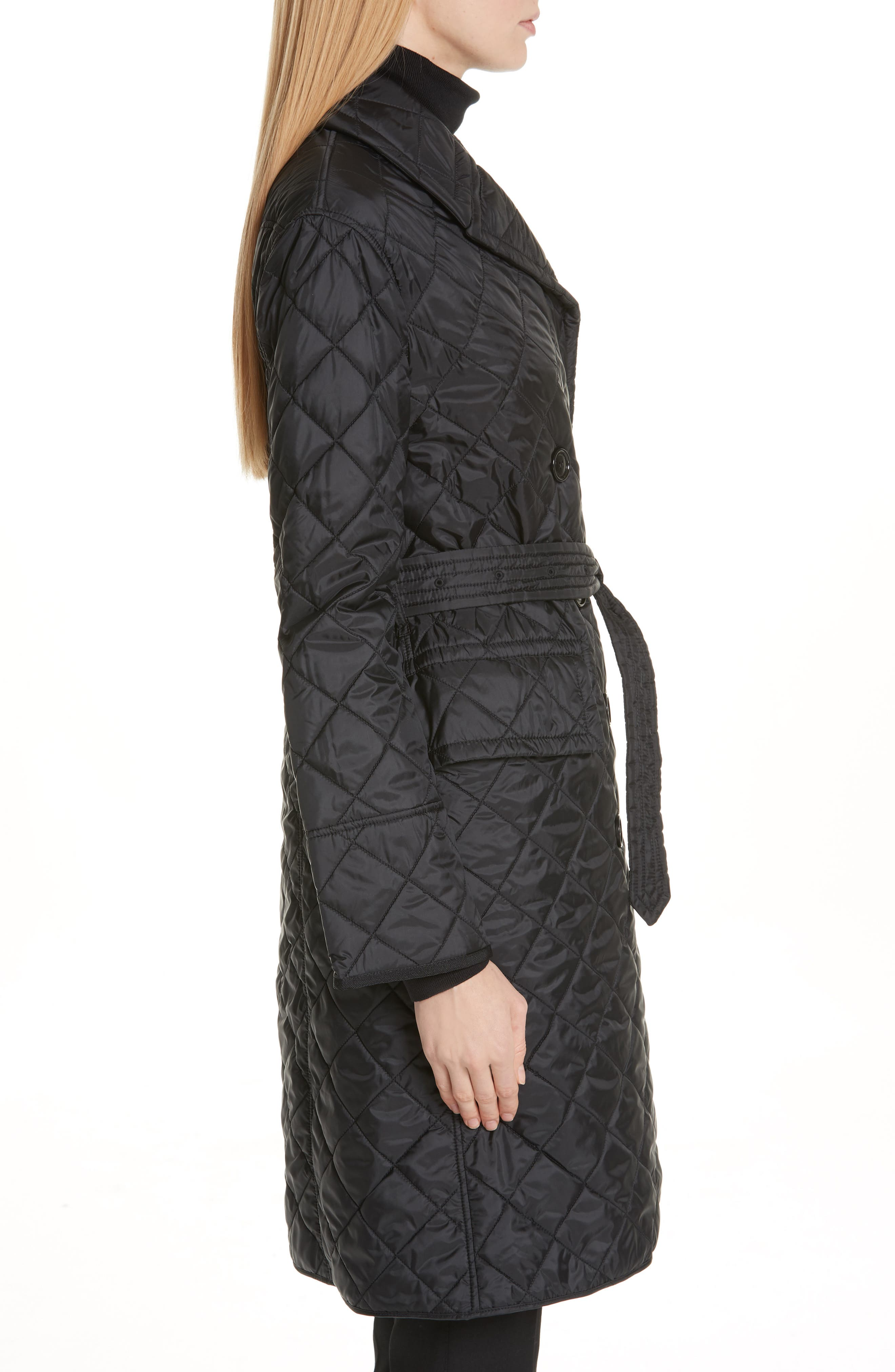 Horberie Quilted Trench Coat,                             Alternate thumbnail 3, color,                             BLACK