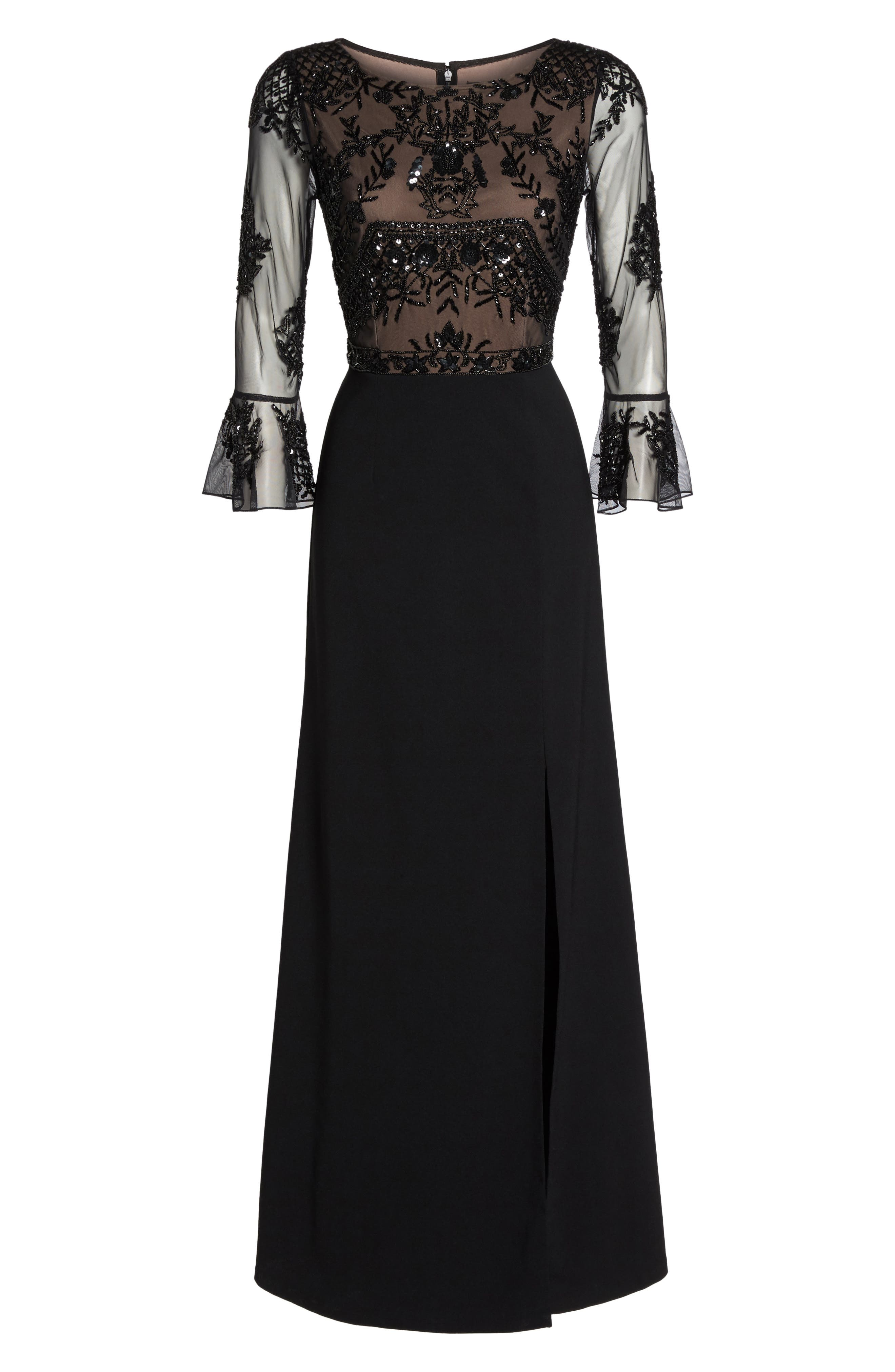 Embellished Ruffle Sleeve Mesh & Crepe Gown,                             Alternate thumbnail 6, color,                             002