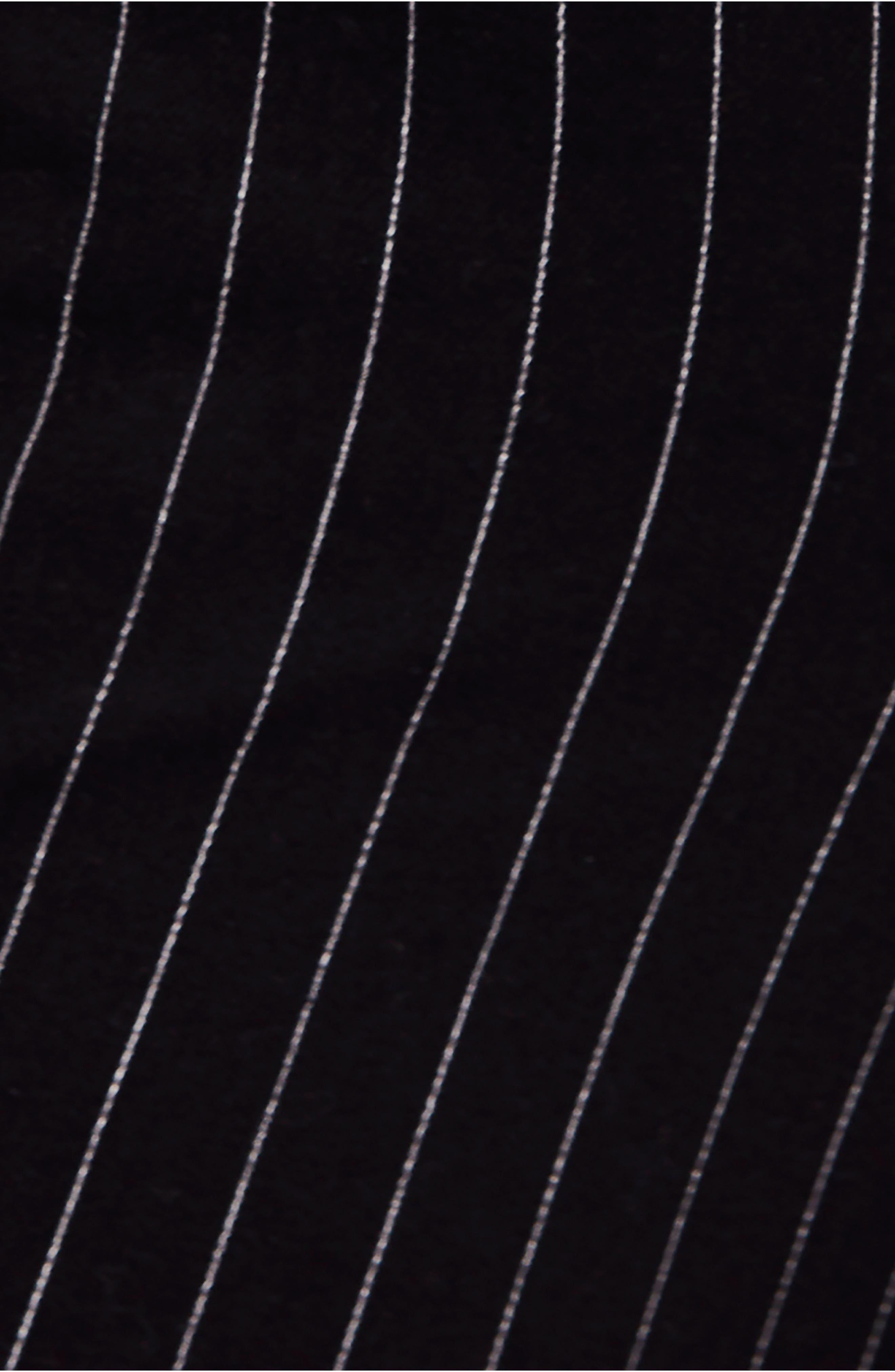 Montella Pinstripe Crop Skinny Pants,                             Alternate thumbnail 6, color,                             BLACK