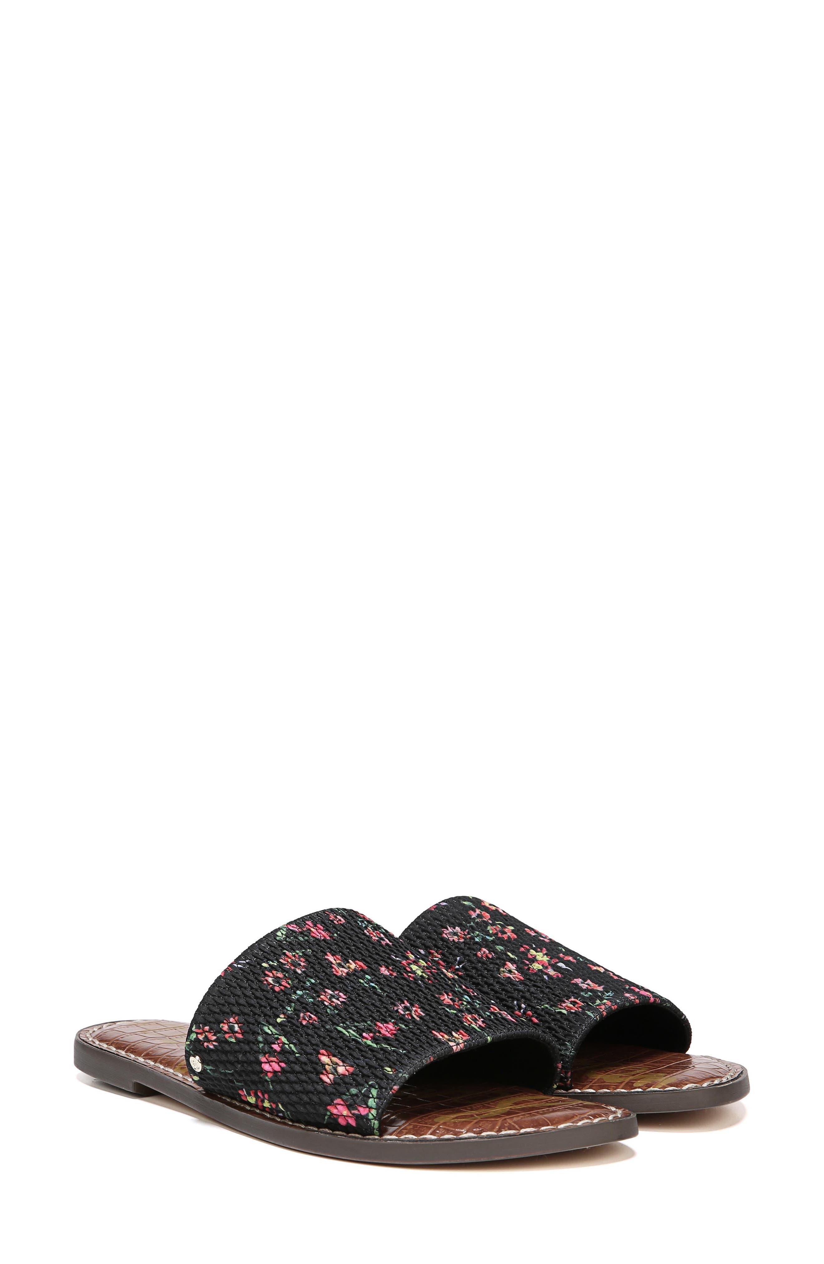Gio Slide Sandal,                             Alternate thumbnail 7, color,                             BLACK FLORAL PRINT FABRIC