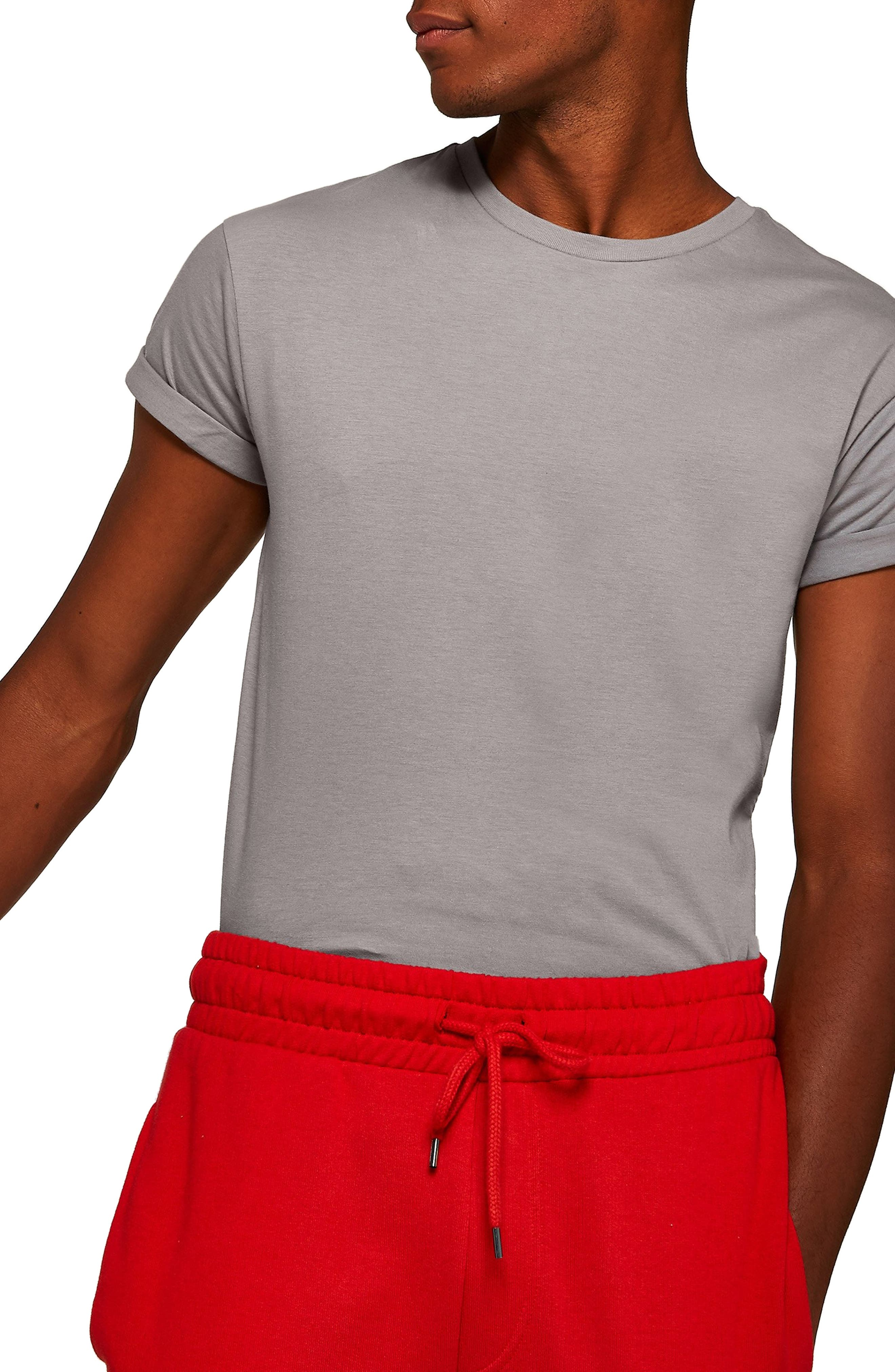 Muscle Fit Roller T-Shirt,                         Main,                         color, CHARCOAL