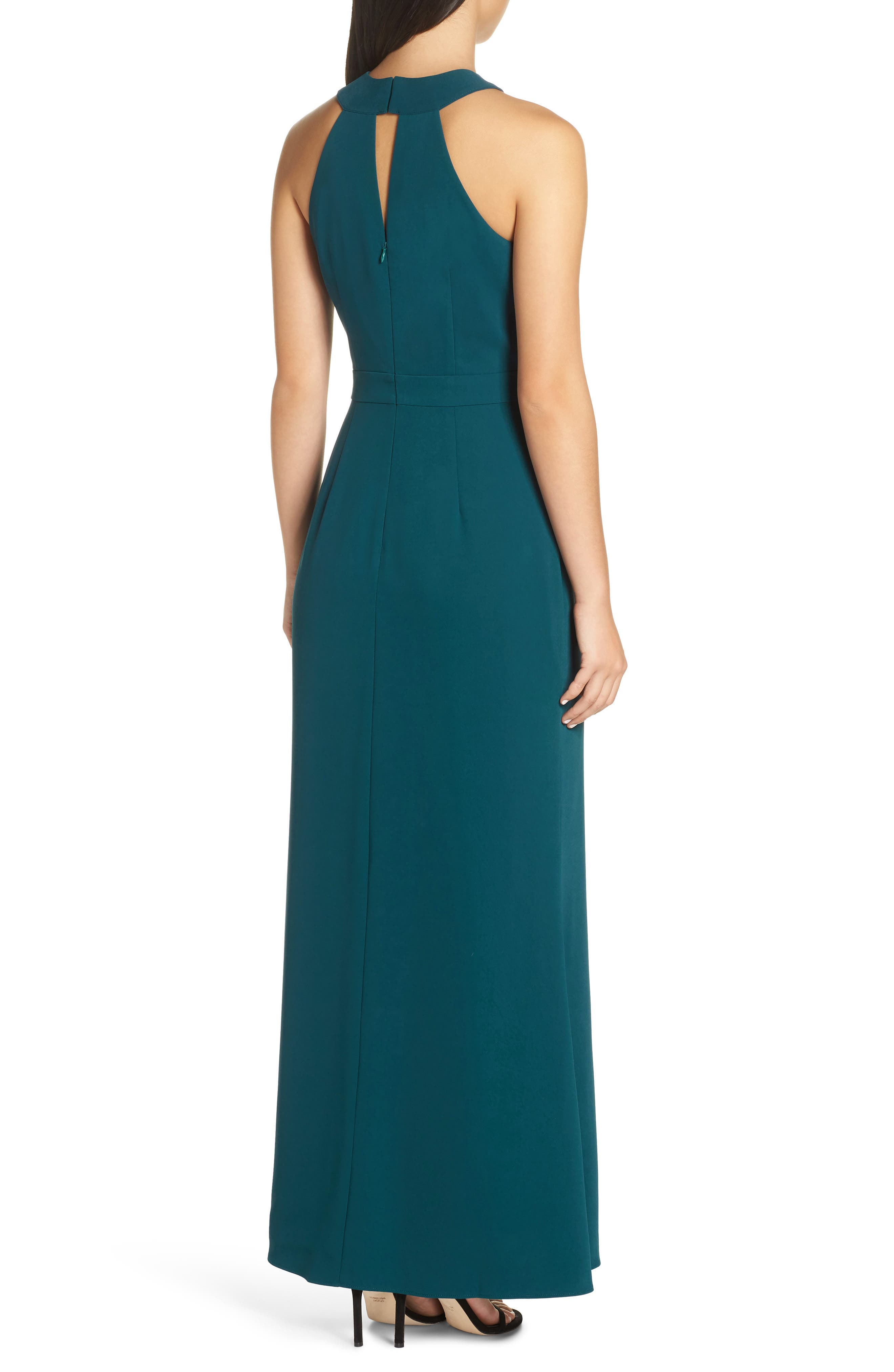 Halter Gown,                             Alternate thumbnail 2, color,                             FOREST GREEN