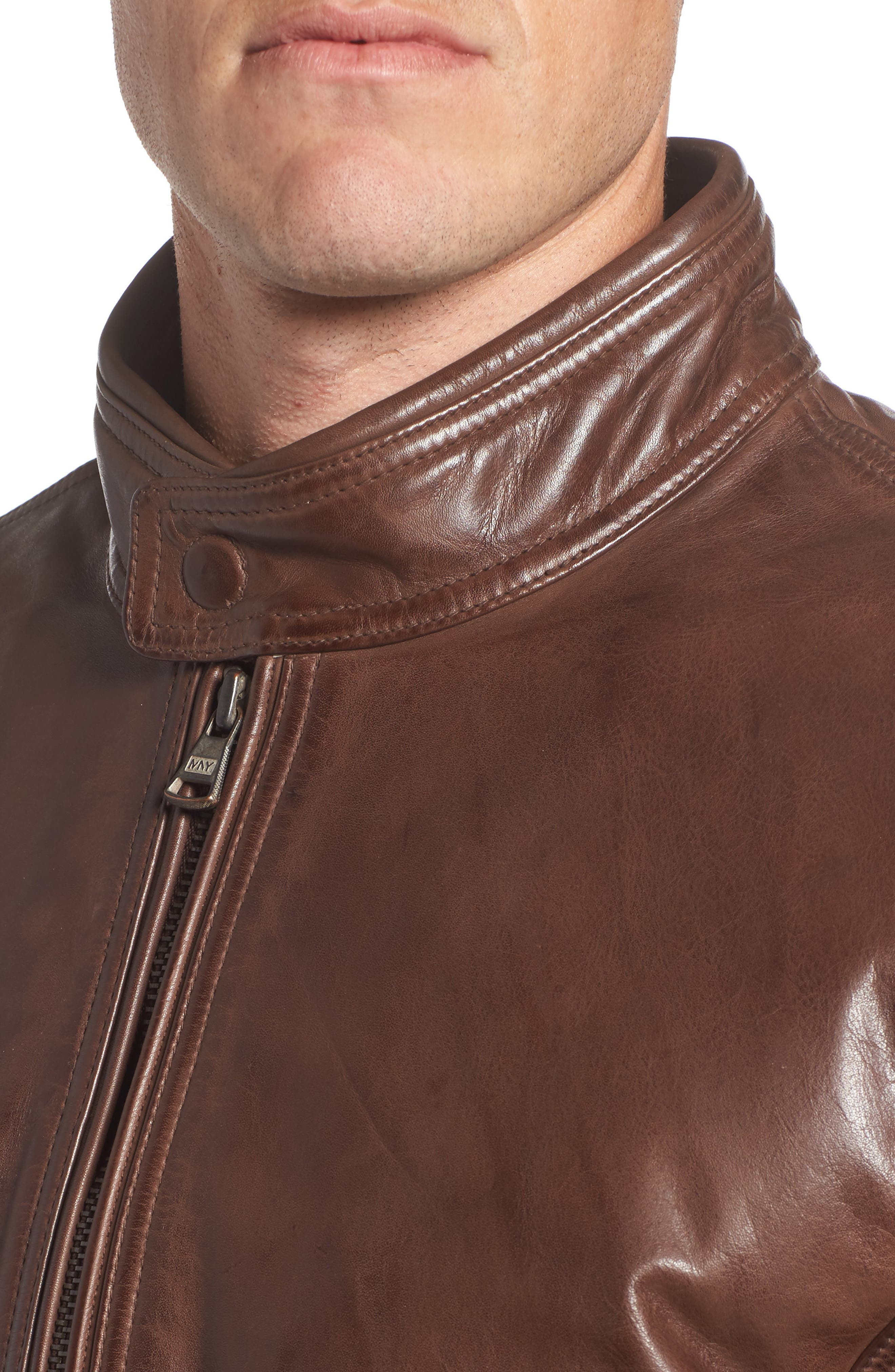 Calfskin Leather Moto Jacket,                             Alternate thumbnail 8, color,