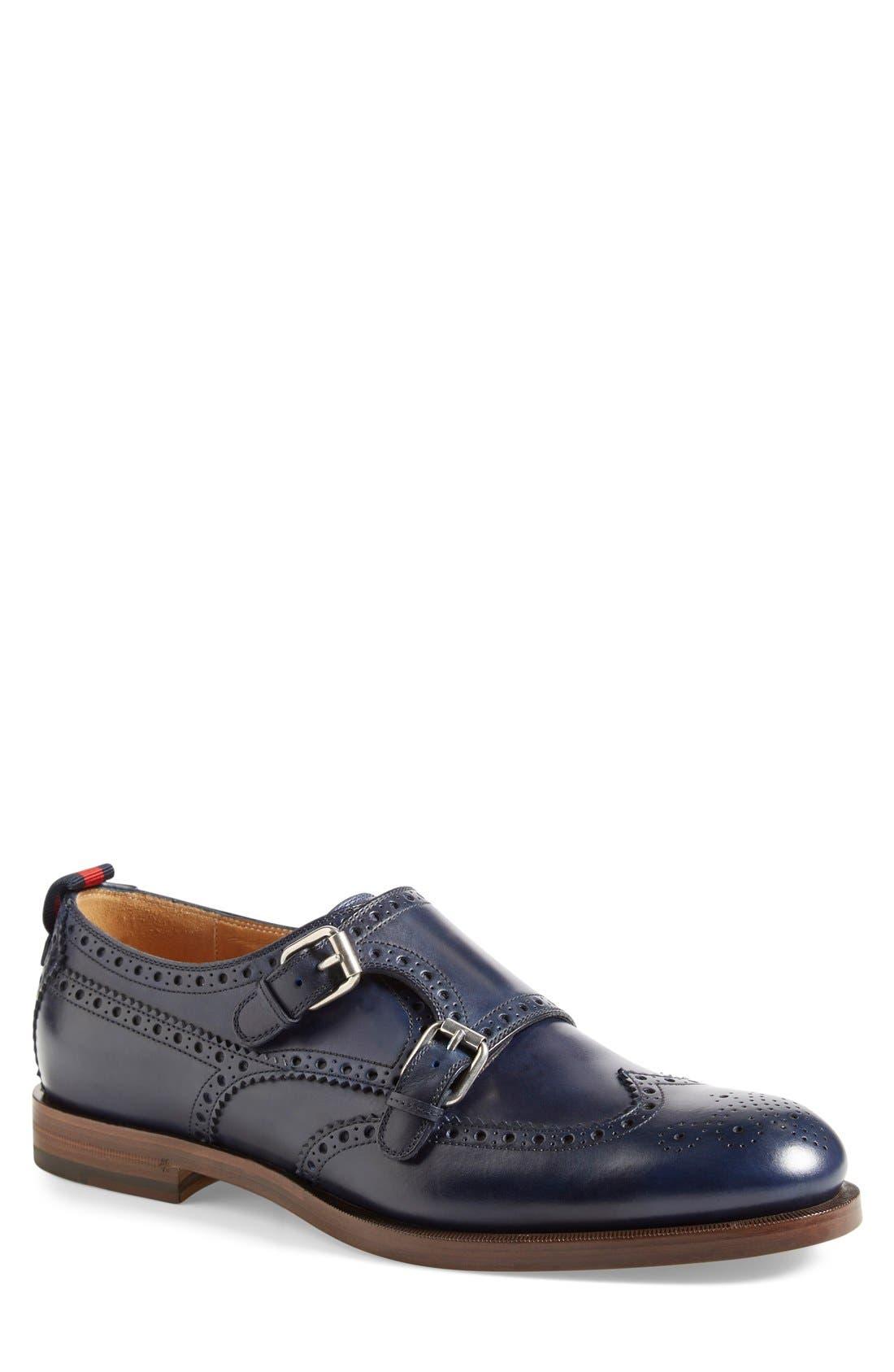 Double Monk Strap Wingtip Shoe, Main, color, 473