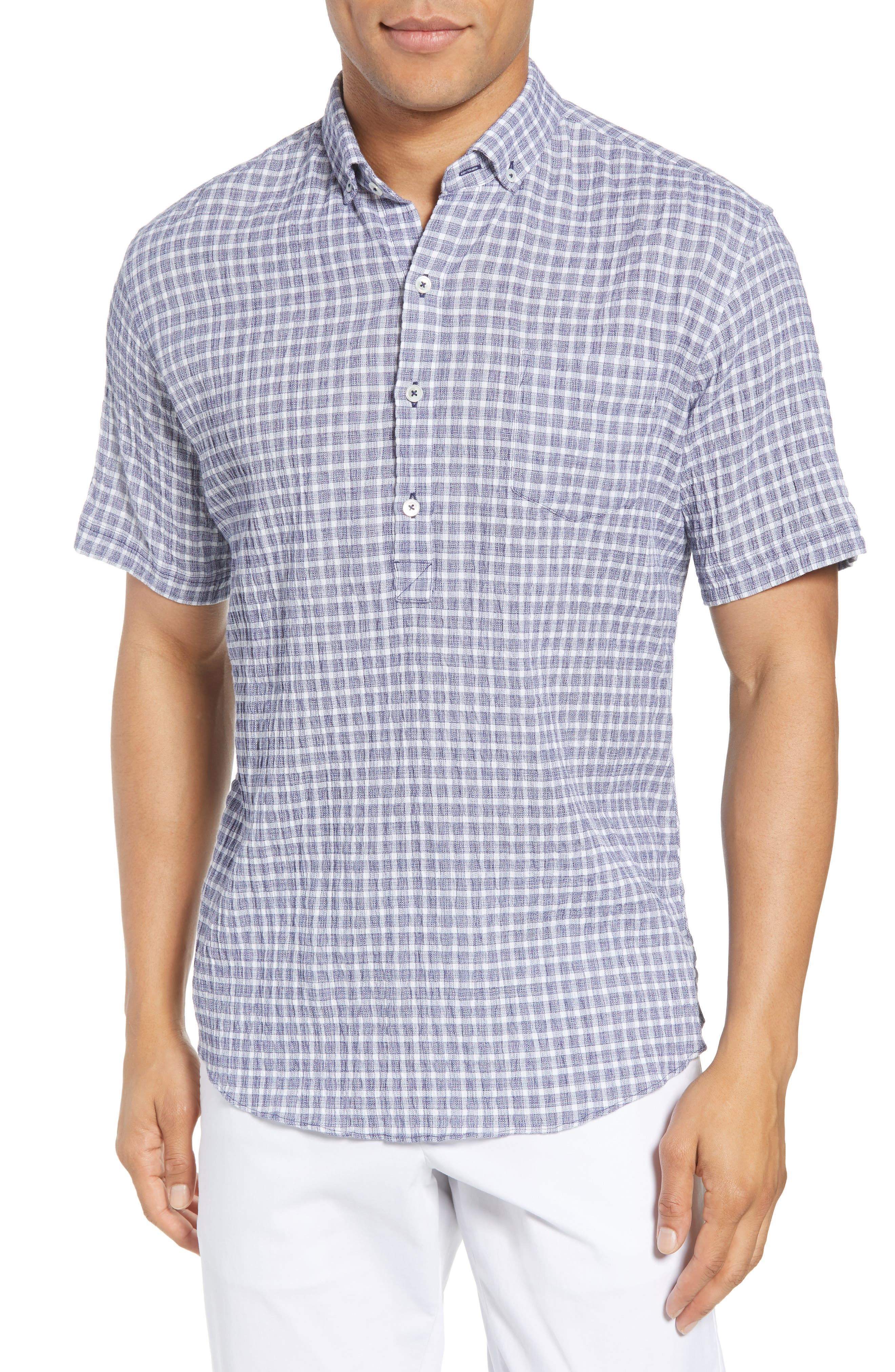 Nicomini Trim Fit Plaid Popover Sport Shirt,                         Main,                         color, 411