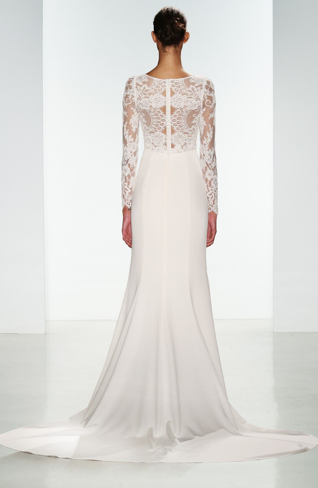 Noelle Long Sleeve Lace & Crepe Gown,                             Alternate thumbnail 3, color,                             IVORY