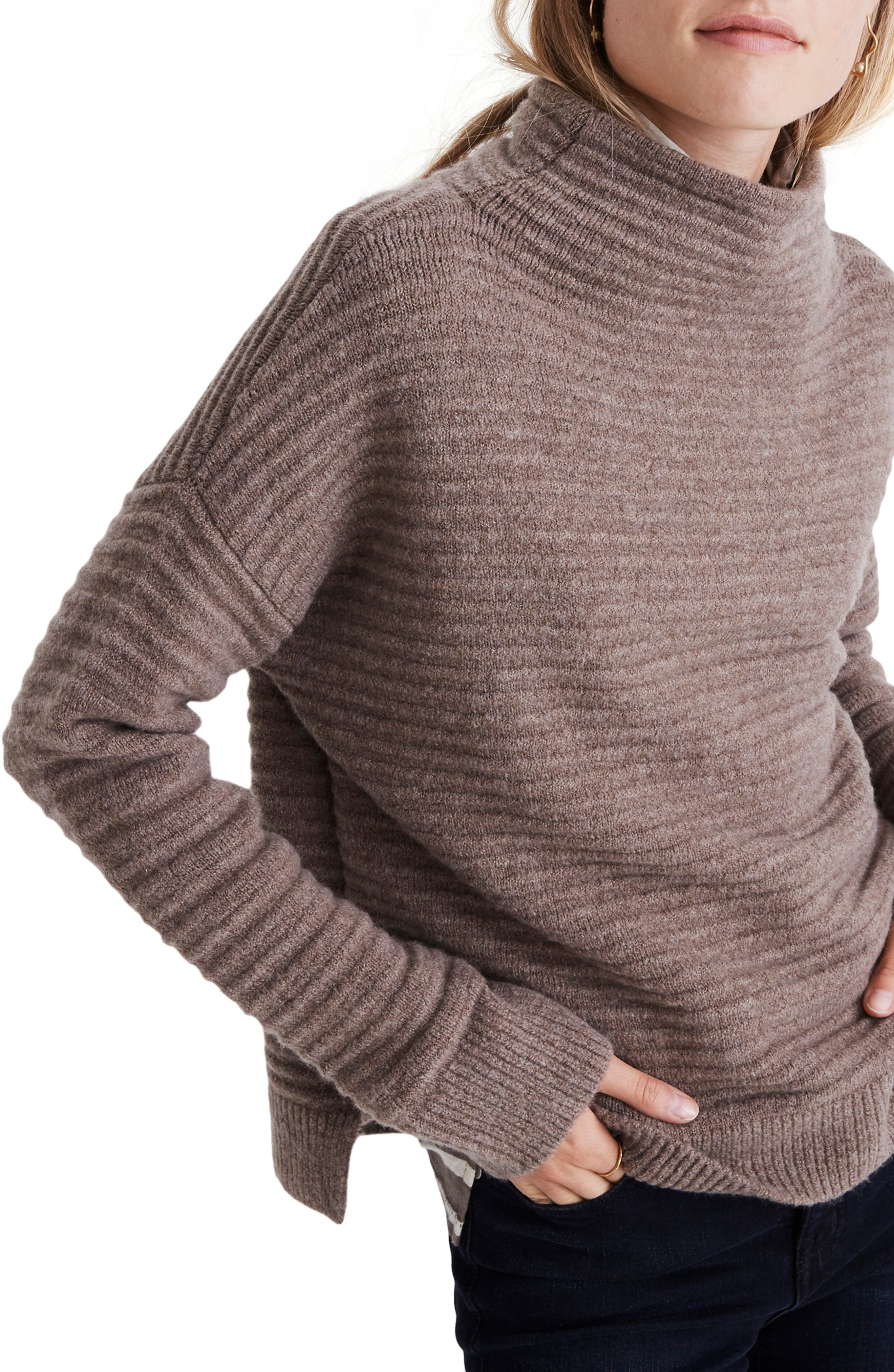 Belmont Mock Neck Sweater, Main, color, HEATHER ROOT