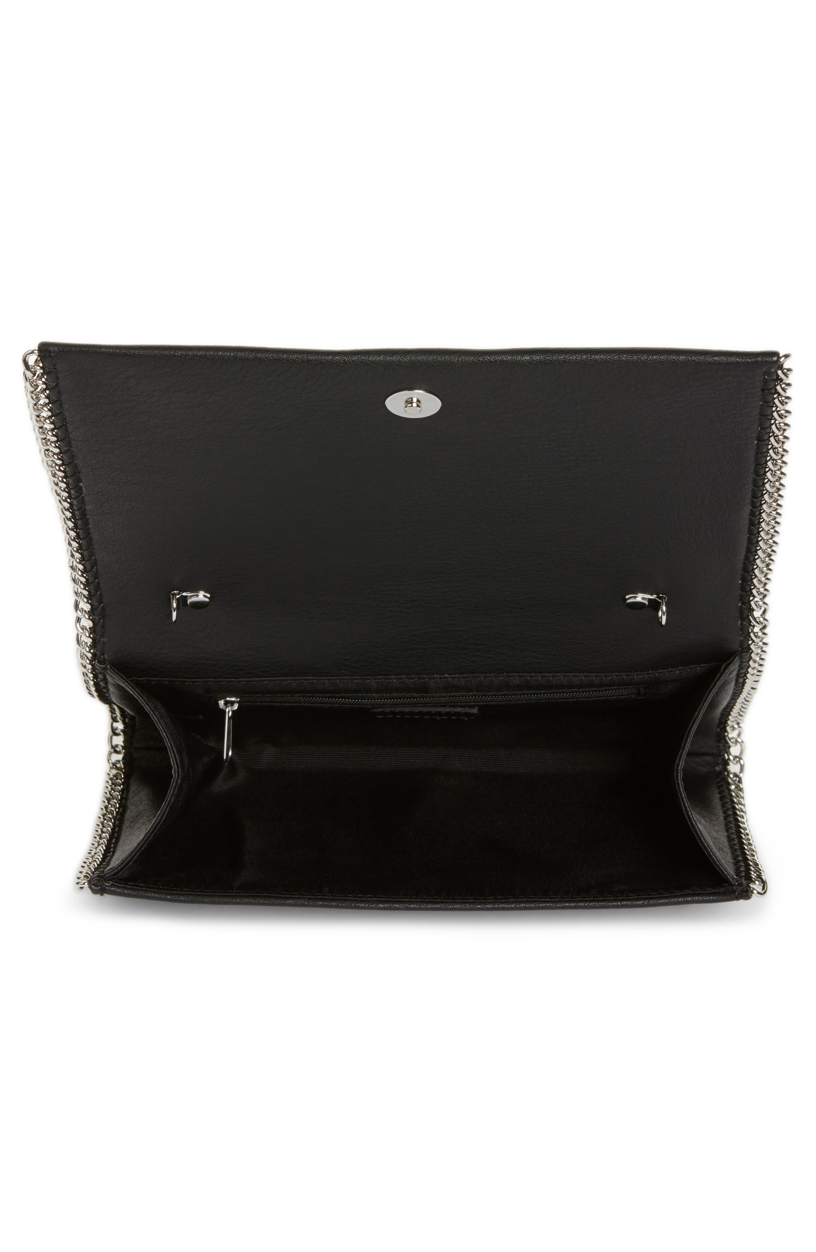 Embellished Faux Leather Convertible Clutch,                             Alternate thumbnail 4, color,                             001